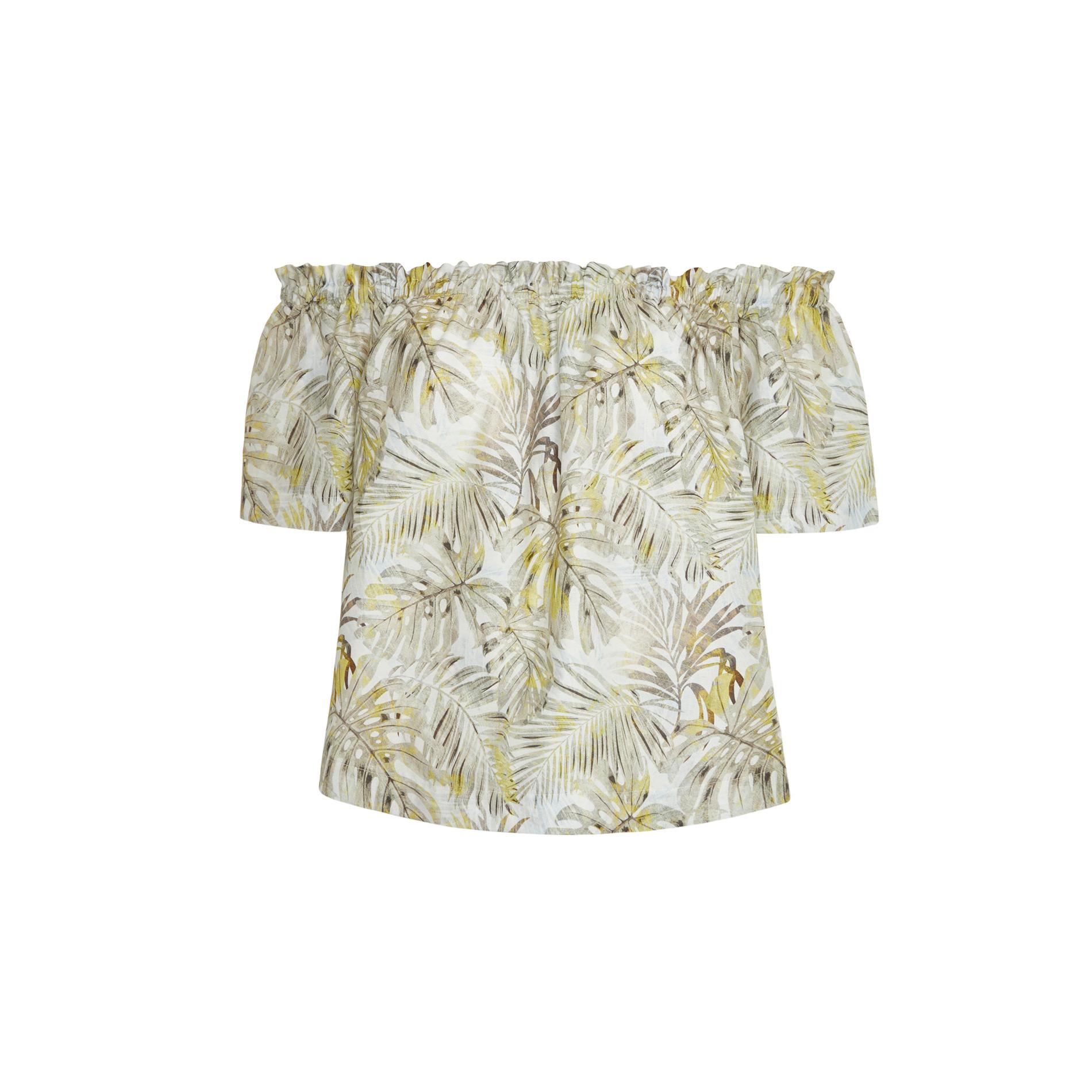 Top in puro cotone fantasia foglie, Grigio chiaro, large image number 1