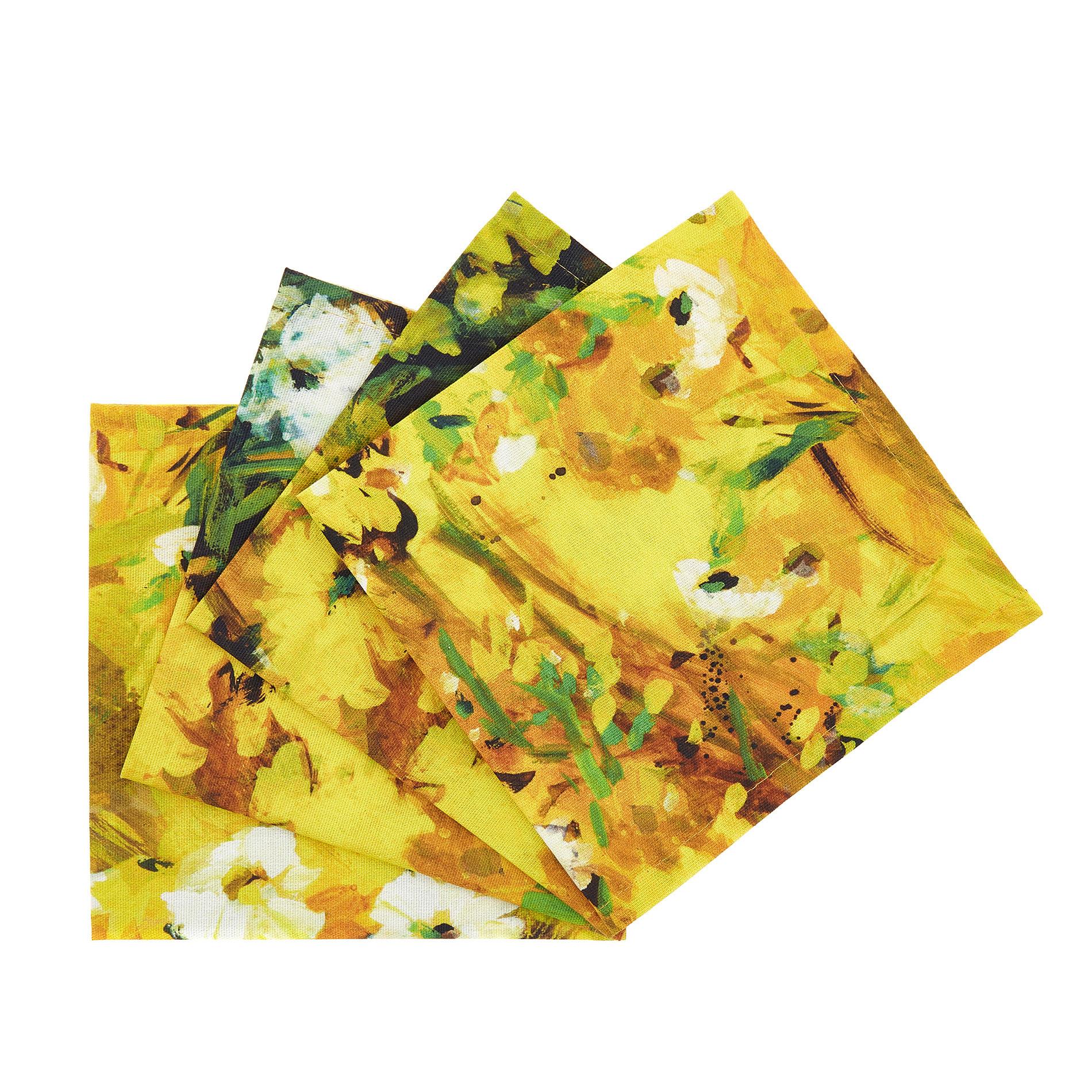 Set 4 tovaglioli puro cotone stampa floreale, Giallo, large image number 0