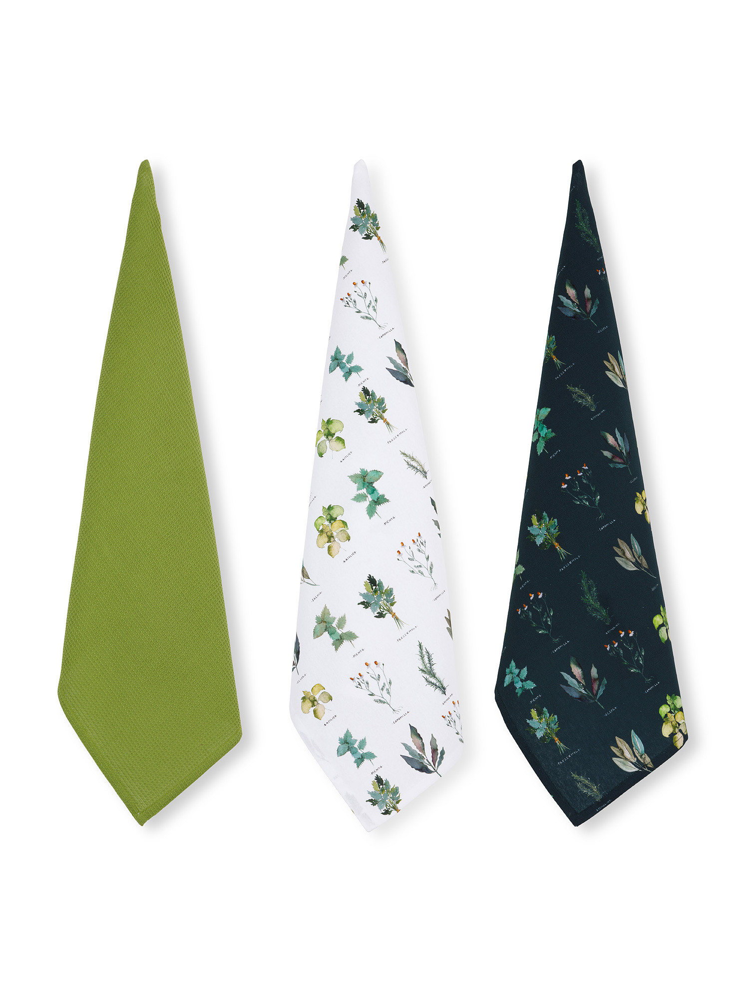 Set 3 strofinacci puro cotone organico stampa erbe, Verde, large image number 0