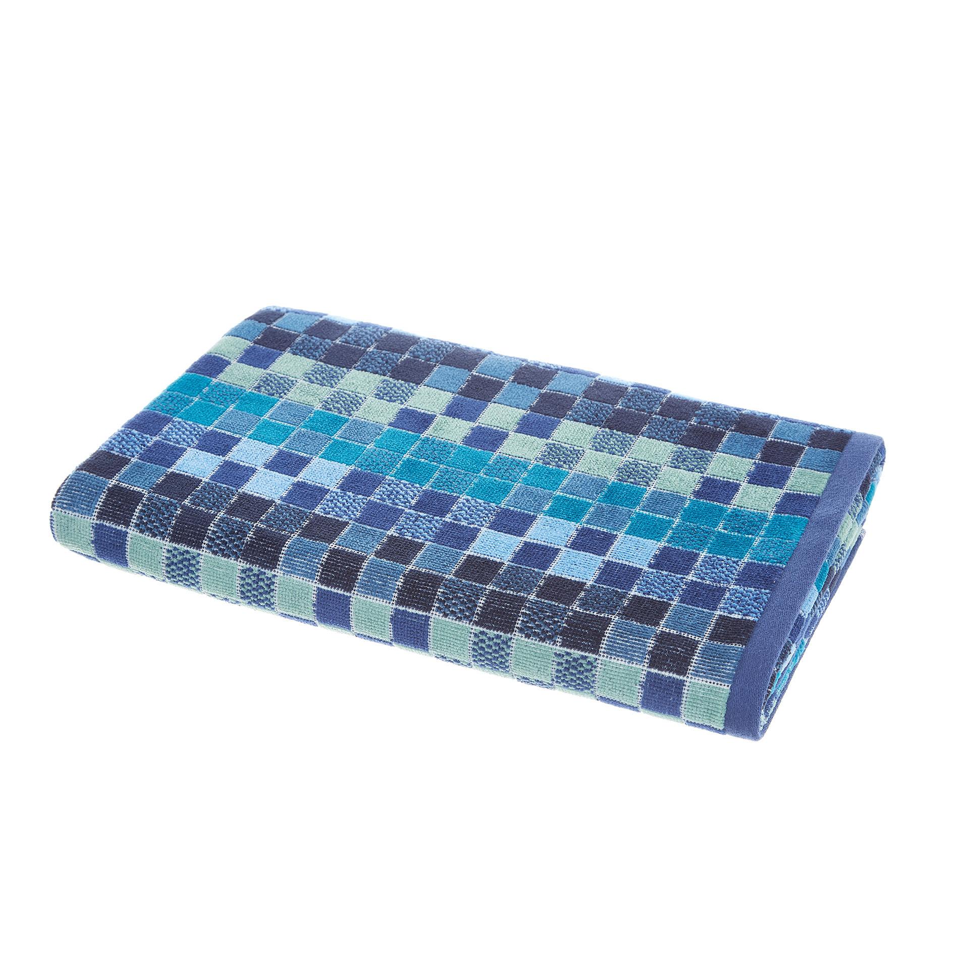 Asciugamano cotone velour fantasia mosaico, Blu, large image number 1