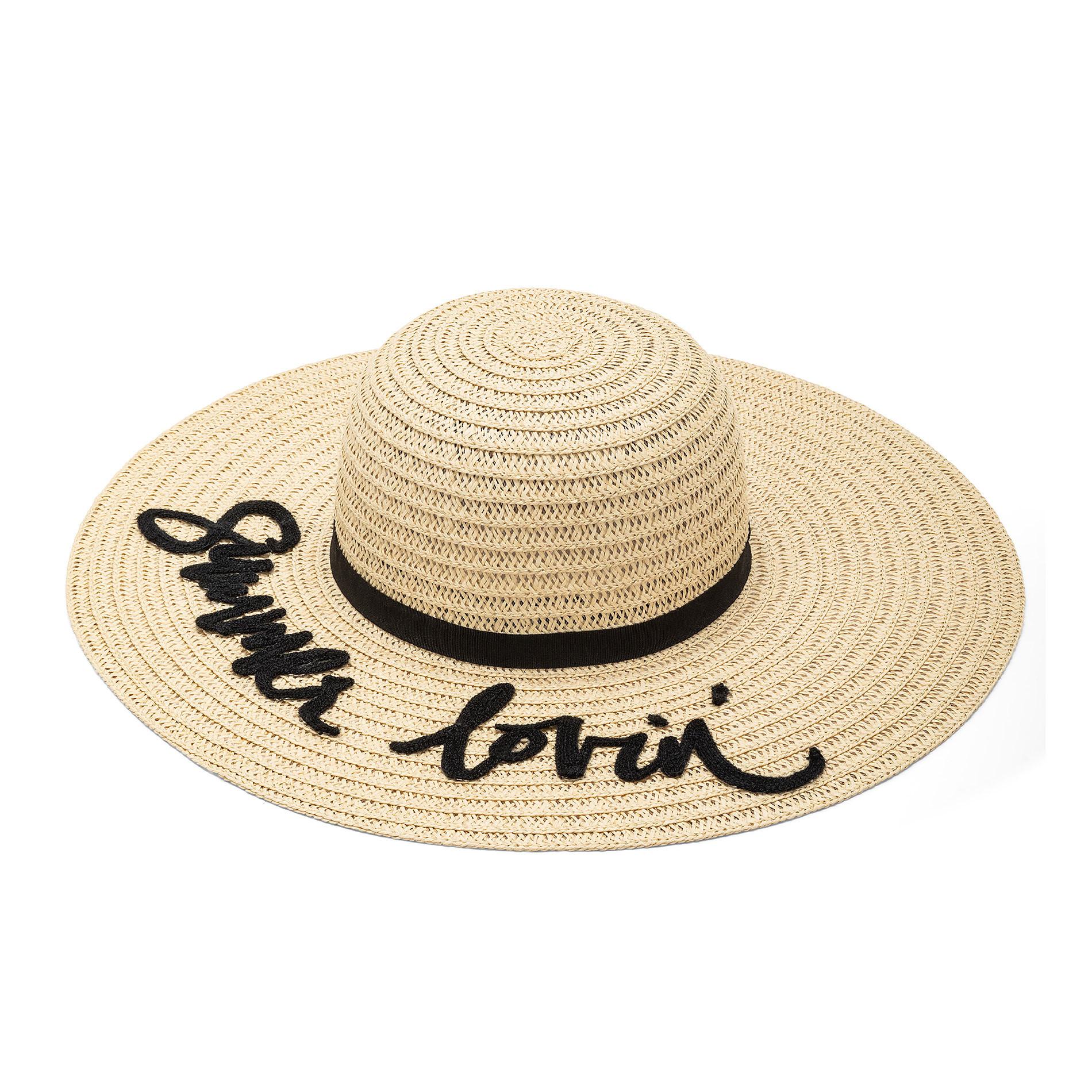 Cappello tesa larga con ricamo, Beige, large image number 0