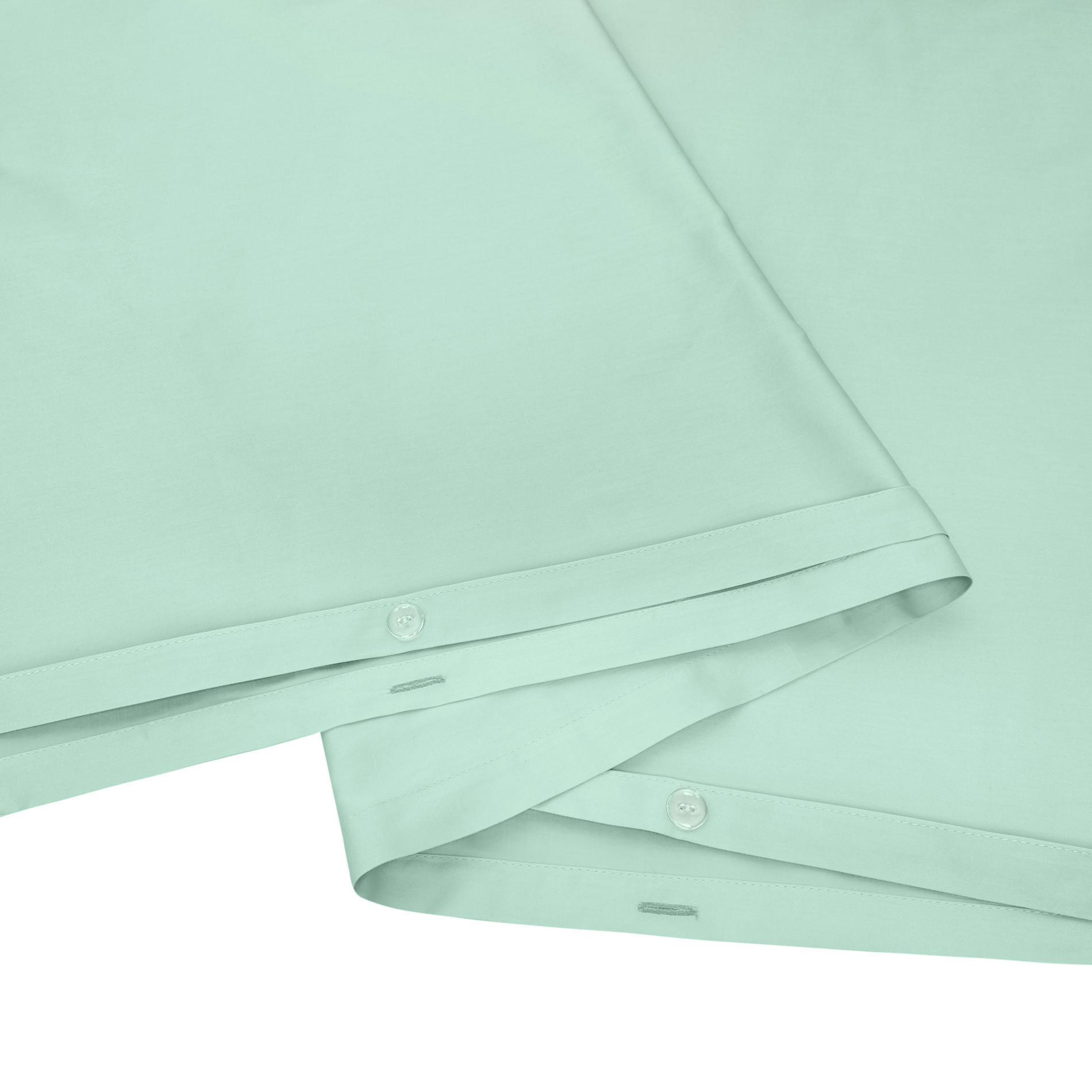 Parure copripiumino raso di puro cotone Zefiro, Verde acqua, large image number 2