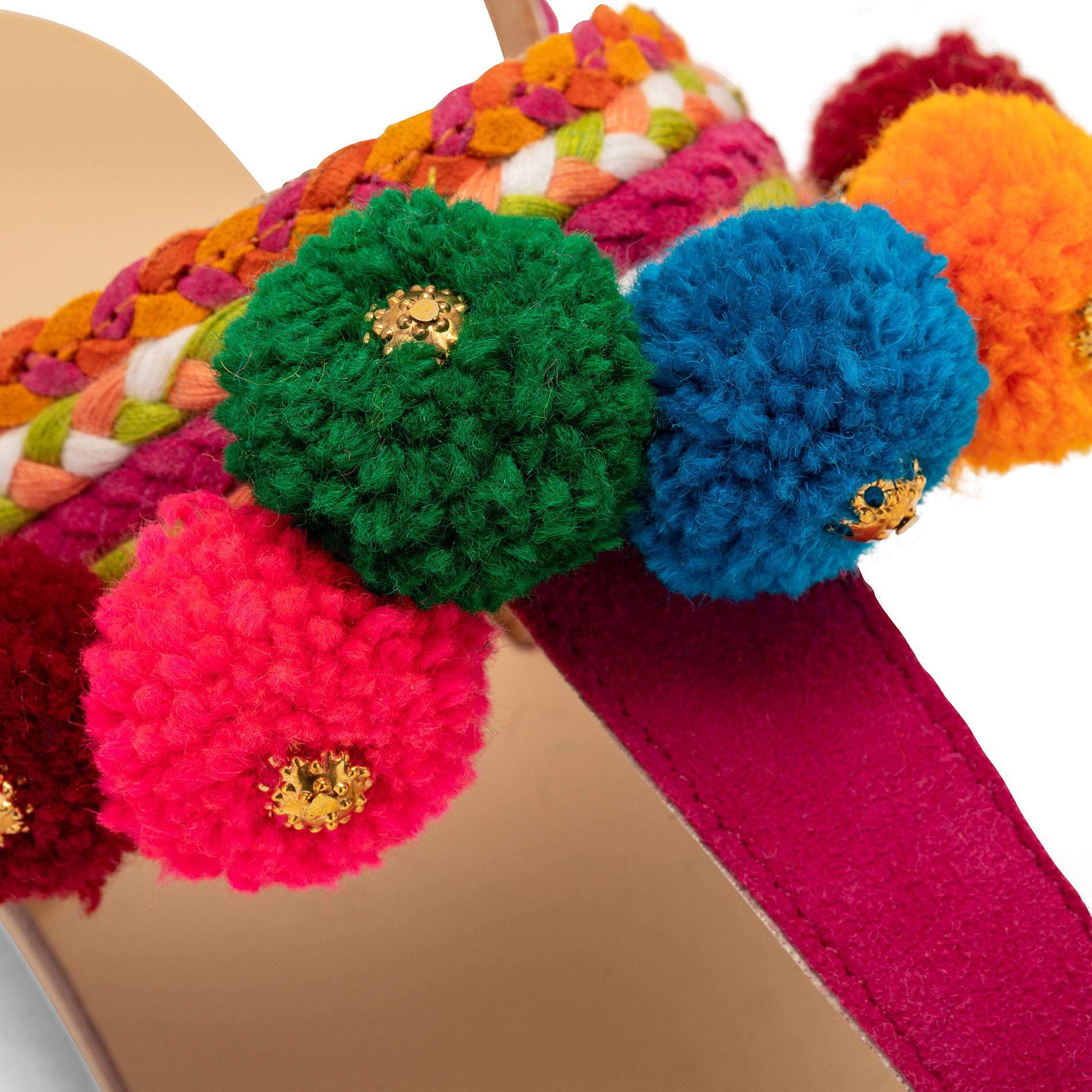 Sandalo infradito con pompon, Multicolor, large image number 2