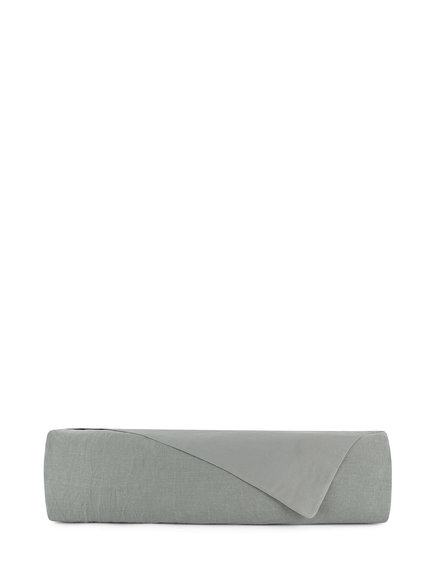 Copripiumino lino lavato e raso di cotone tinta unita, Verde, large image number 1