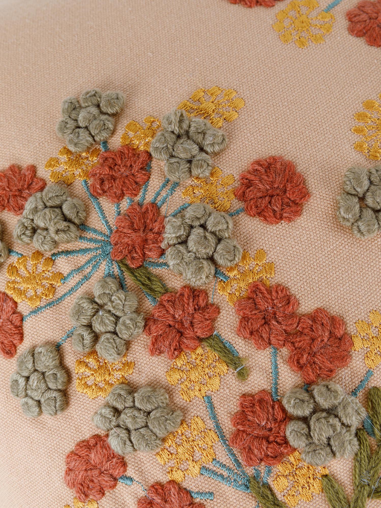 Cuscino cotone ricamo floreale 35x50cm, Multicolor, large image number 2