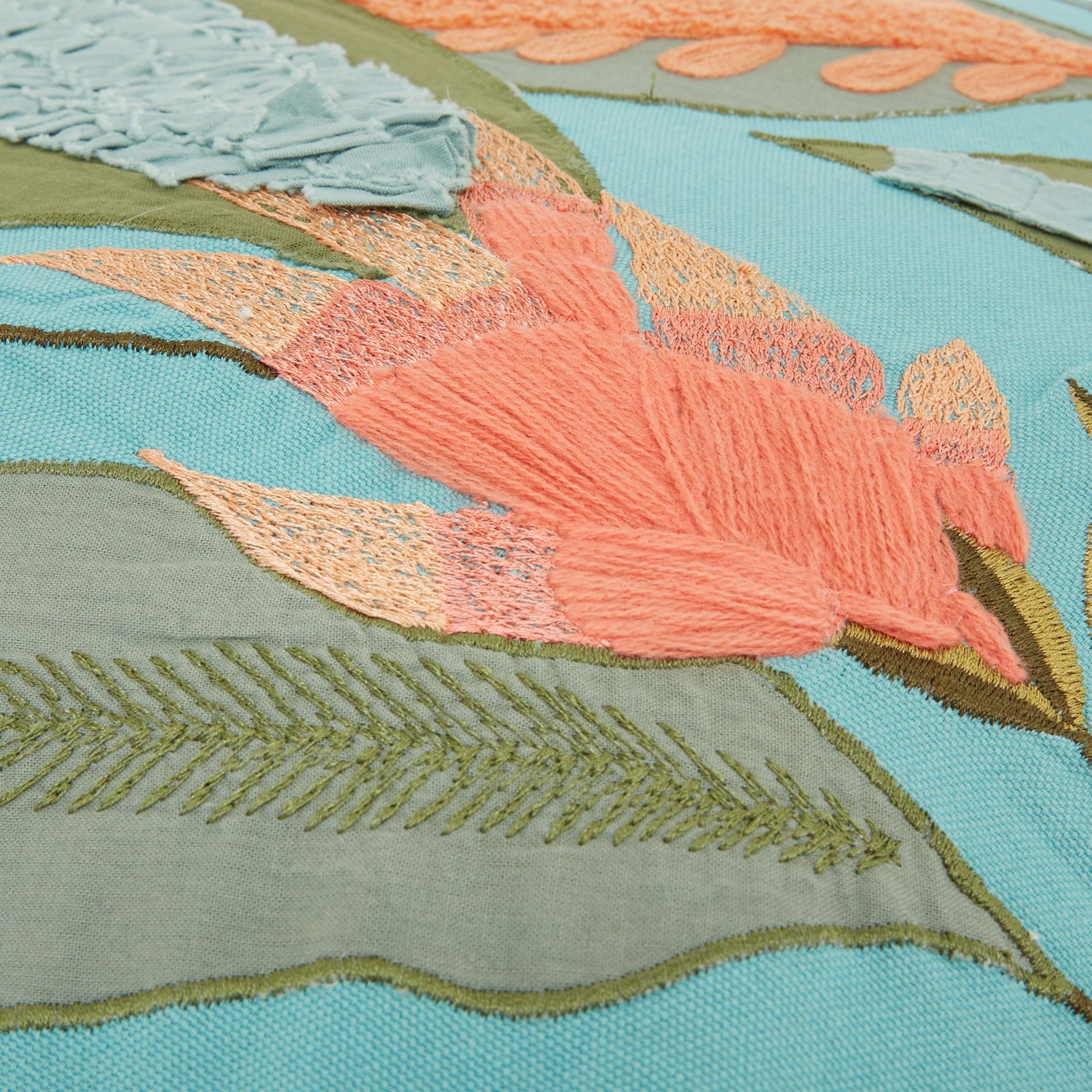 Cuscino ricamo foglie 45x45cm, Verde acqua, large image number 3