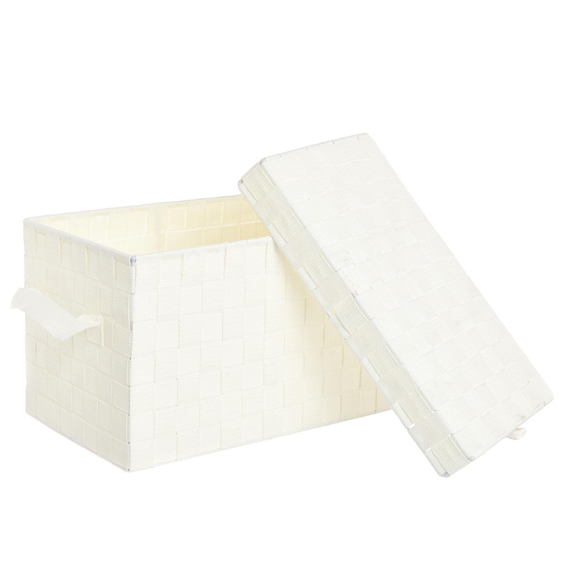 Storage box a nastri intrecciati, Bianco, large image number 1