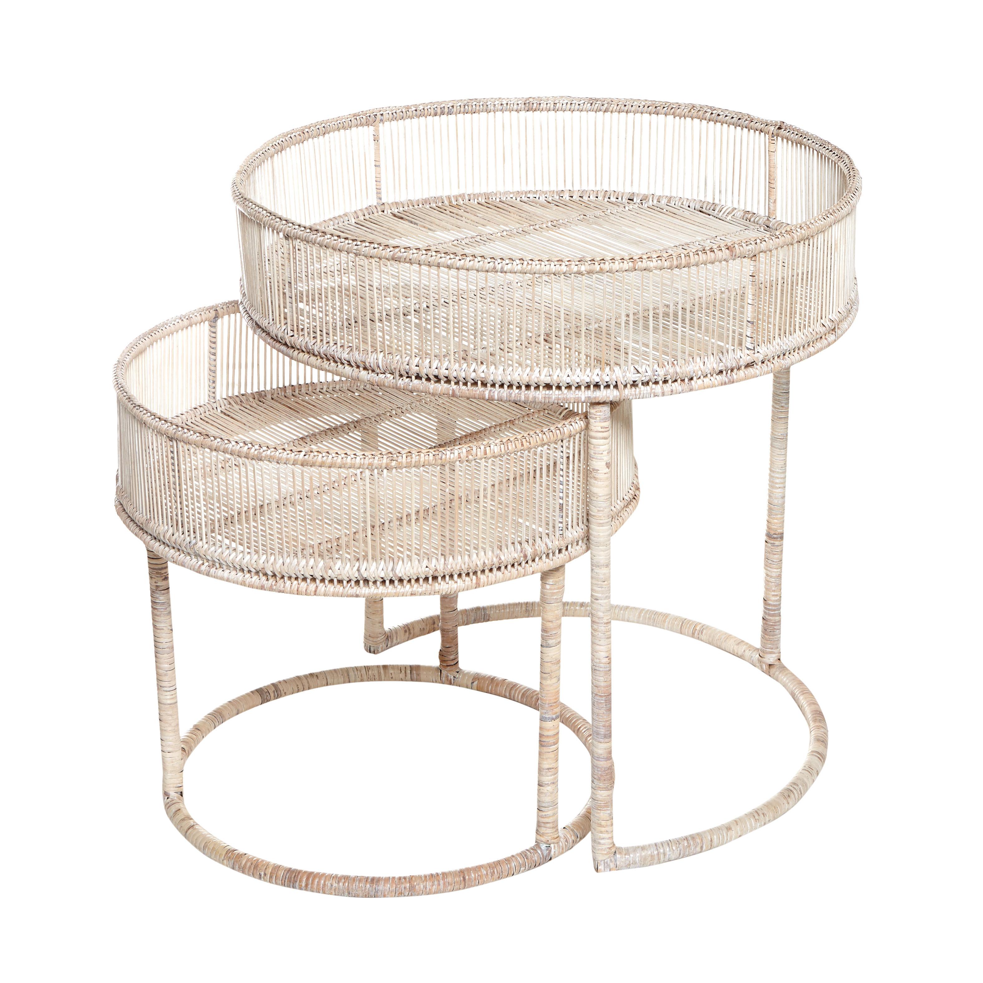 Set 2 tavolini rattan intrecciato a mano Ngwe, Naturale, large image number 0