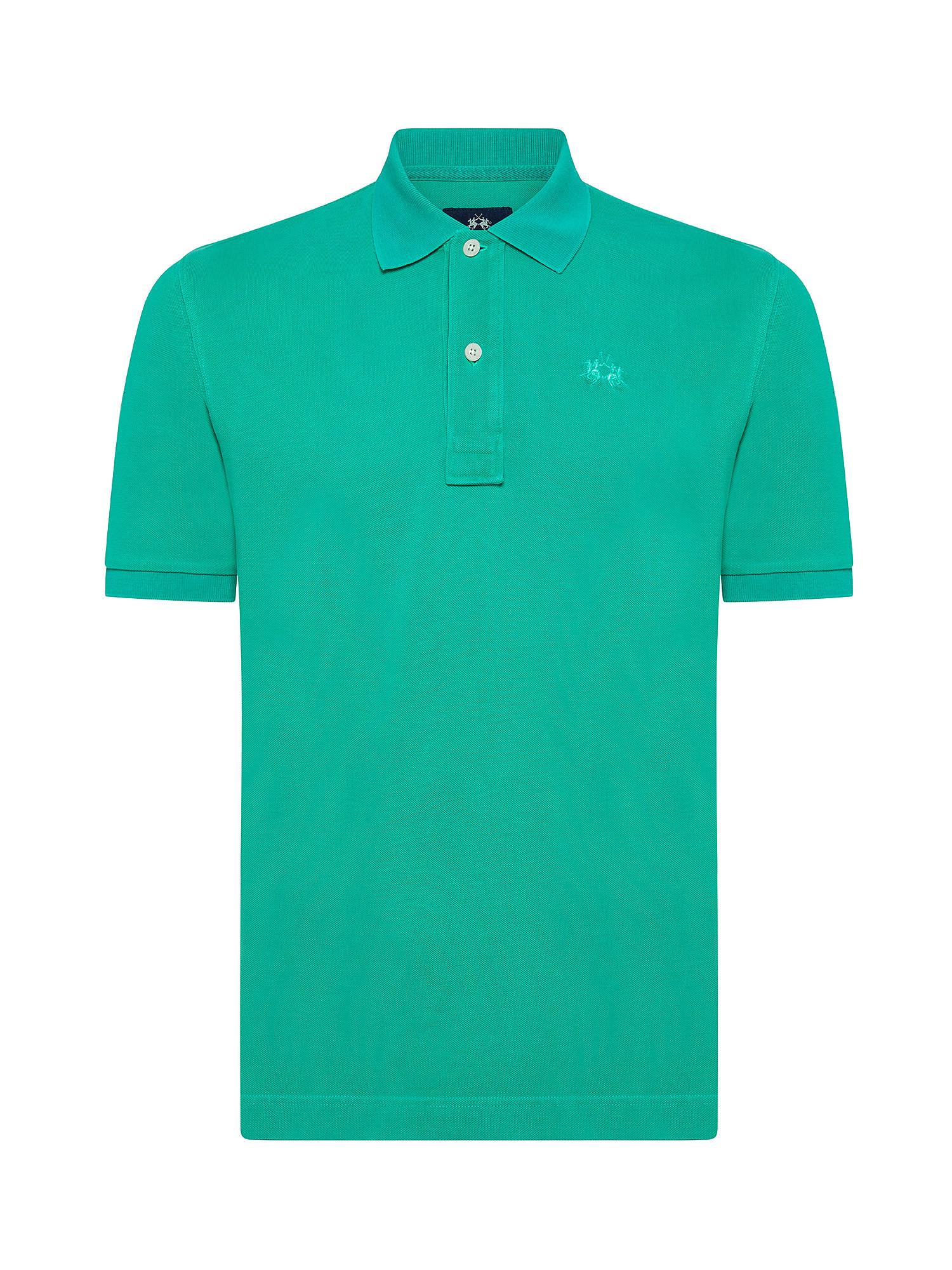 Polo da uomo a maniche corte in cotone regular fit, Verde, large image number 0