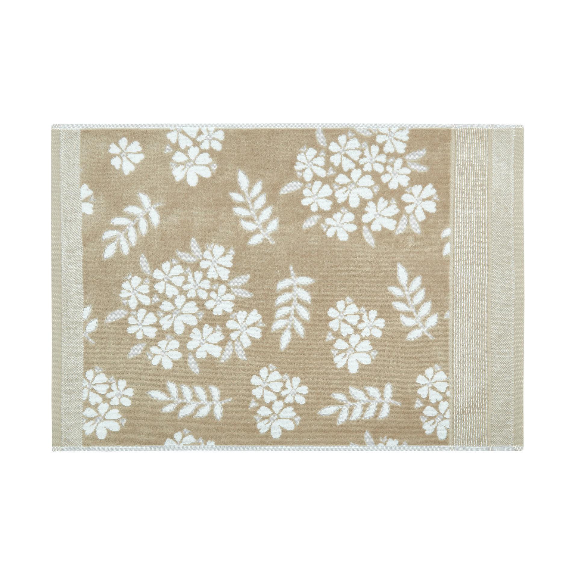 Asciugamano cotone velour motivo floreale Portofino, Beige, large image number 1