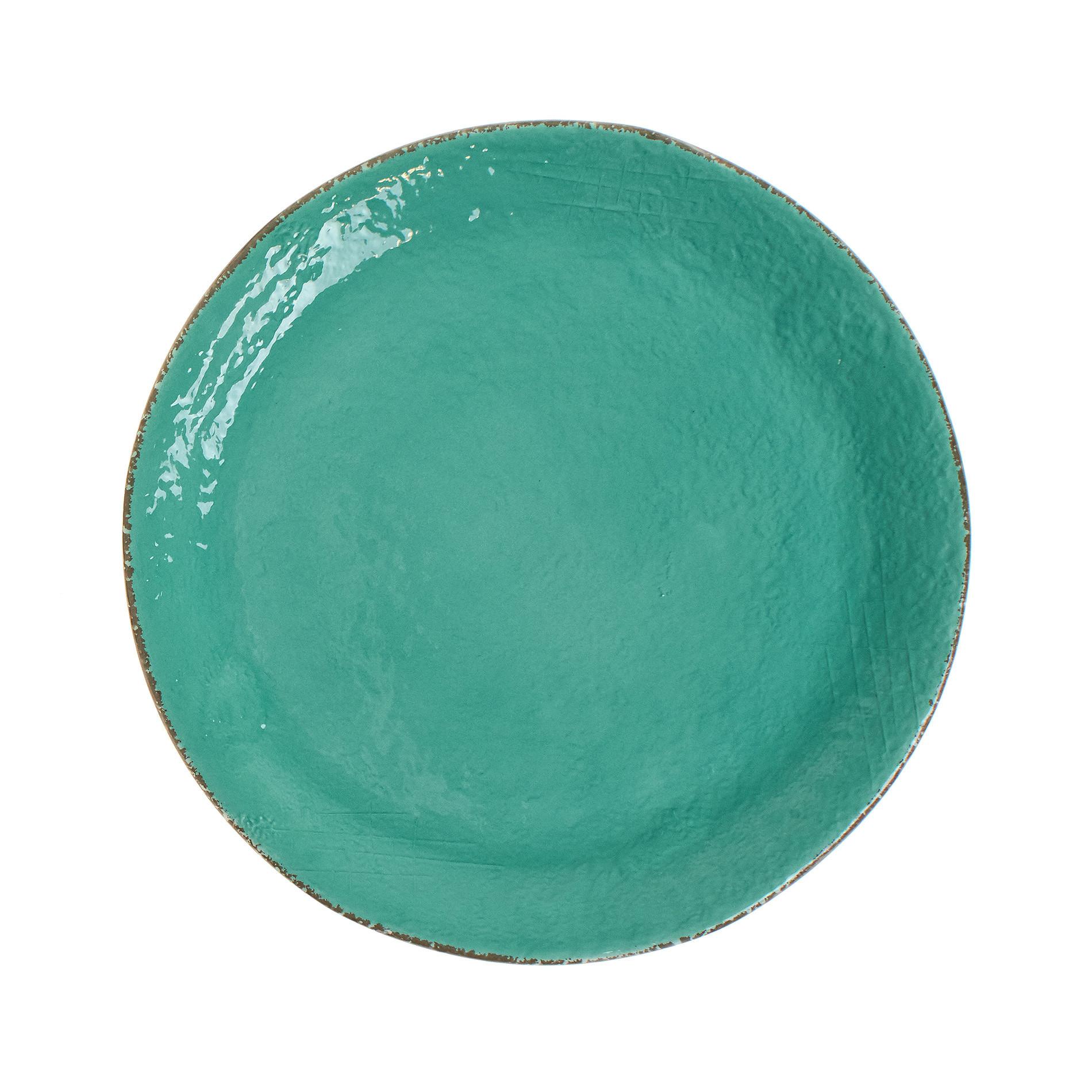Piatto da portata ceramica artigianale Preta, Verde acqua, large image number 0