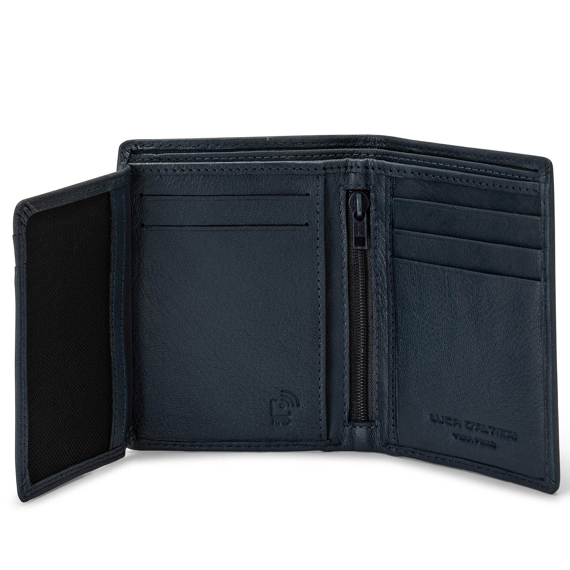 Portafoglio in pelle con zip Luca D'Altieri, Blu scuro, large image number 2