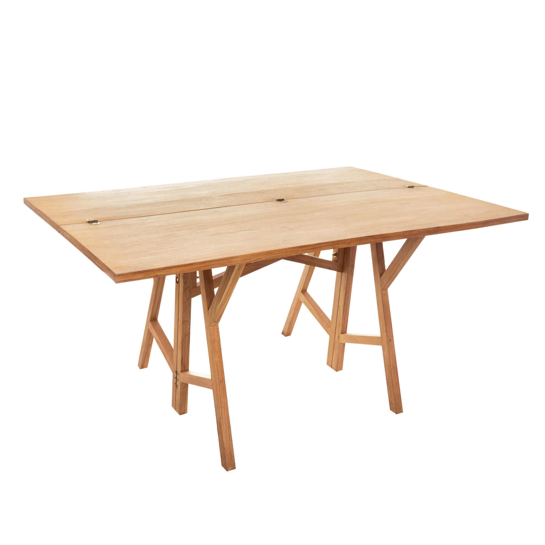 Tavolo consolle in teak riciclato T-Table, Beige, large image number 1