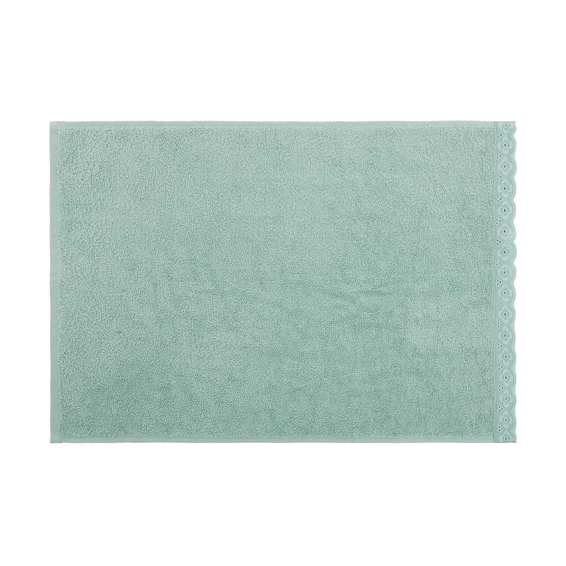 Asciugamano spugna di cotone bordo sangallo, Verde opale, large image number 1