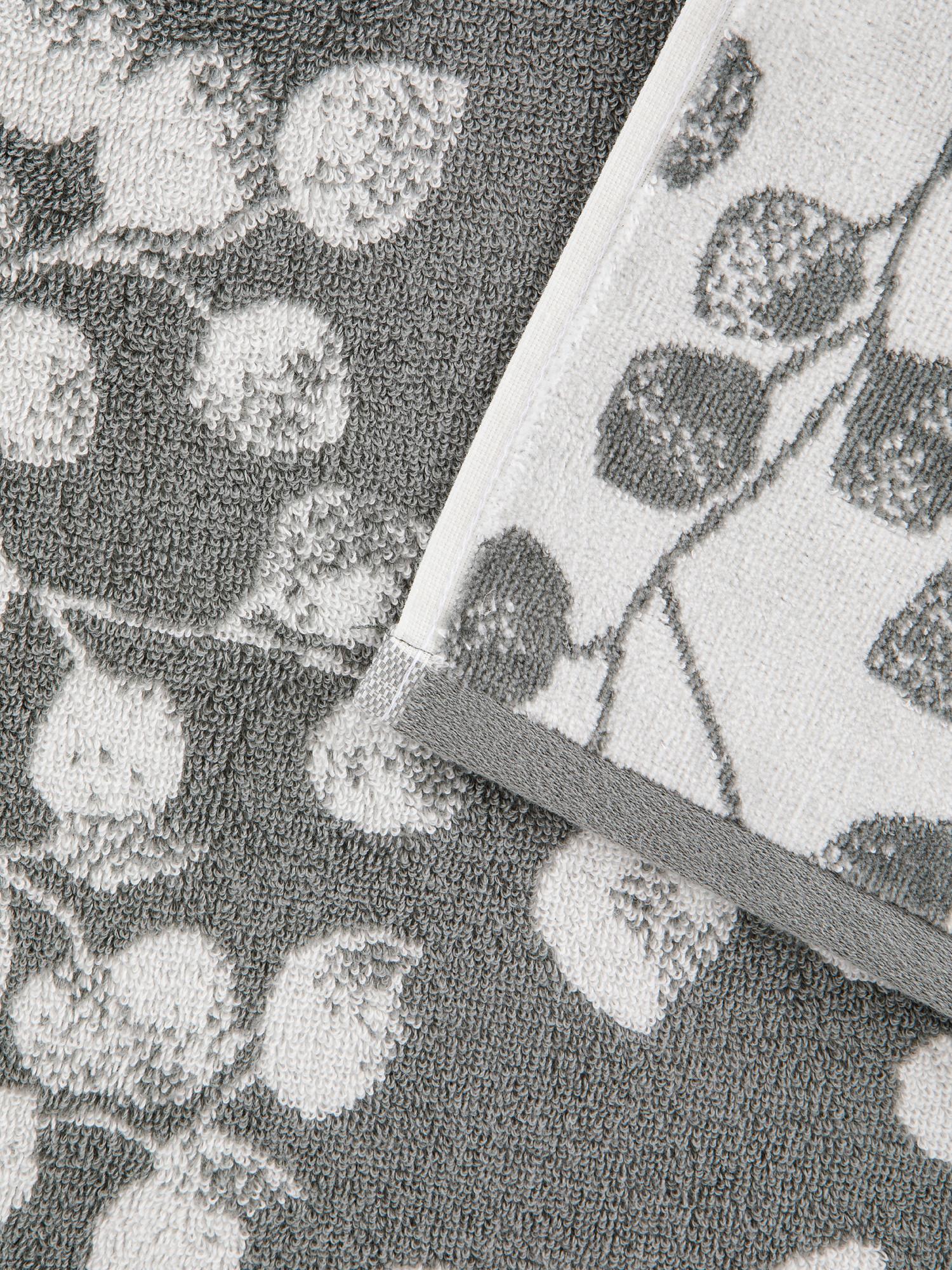 Asciugamano cotone velour motivo ramage, Grigio, large image number 2