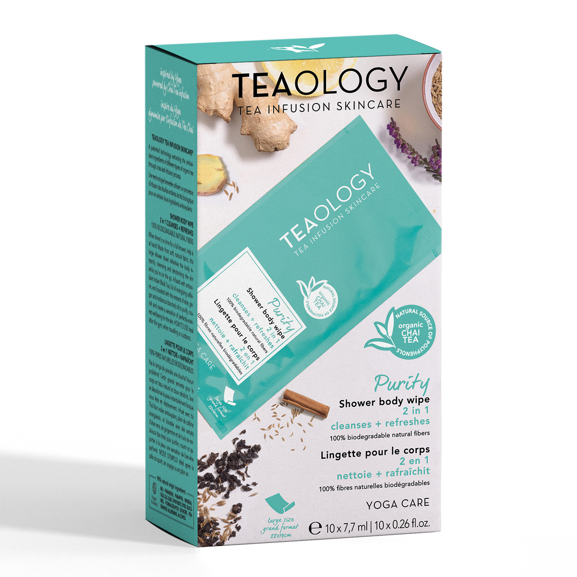 Teaology Purity Shower Body Wipe Multipack 7,7 ml  X 10, Azzurro, large image number 0