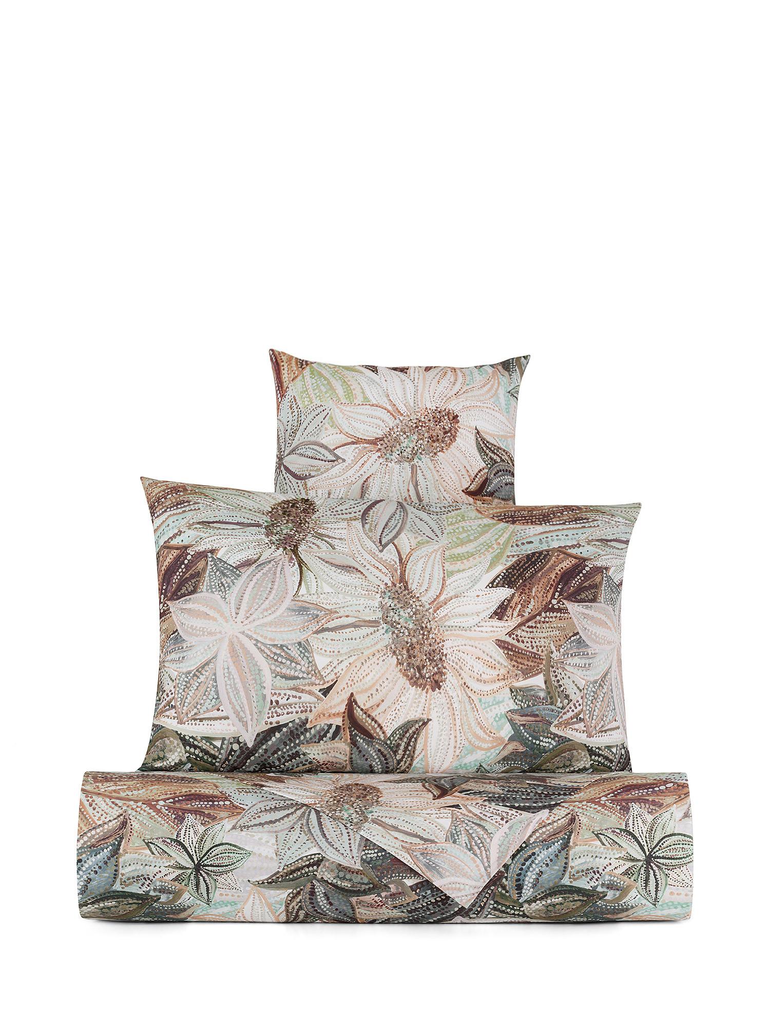 Lenzuolo liscio cotone percalle fantasia floreale, Verde, large image number 0