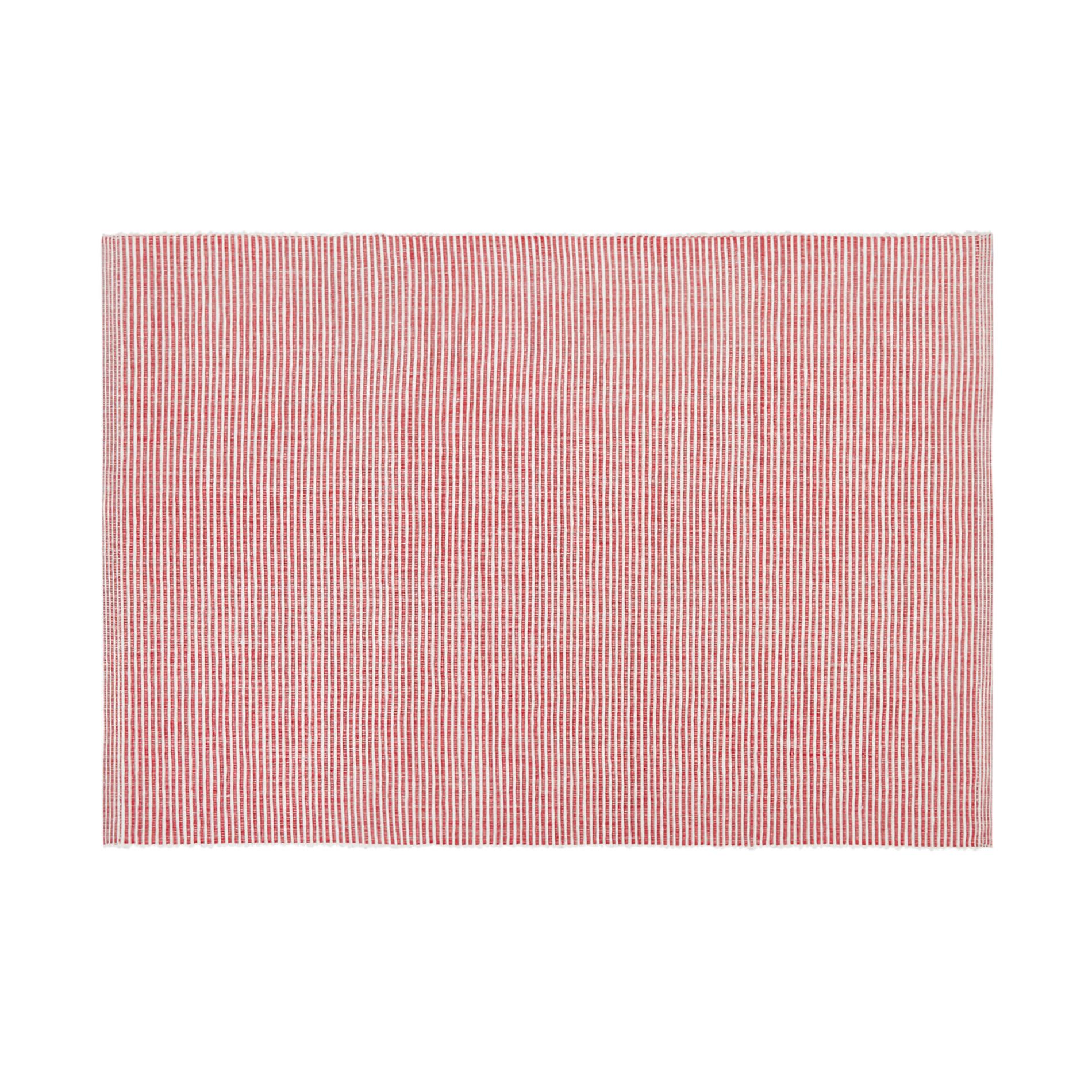 Tovaglietta puro cotone a righe, Rosso, large image number 0