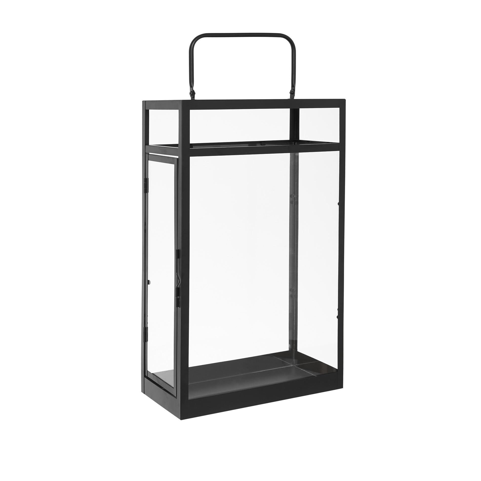 Lanterna vetro e metallo, Nero, large image number 0