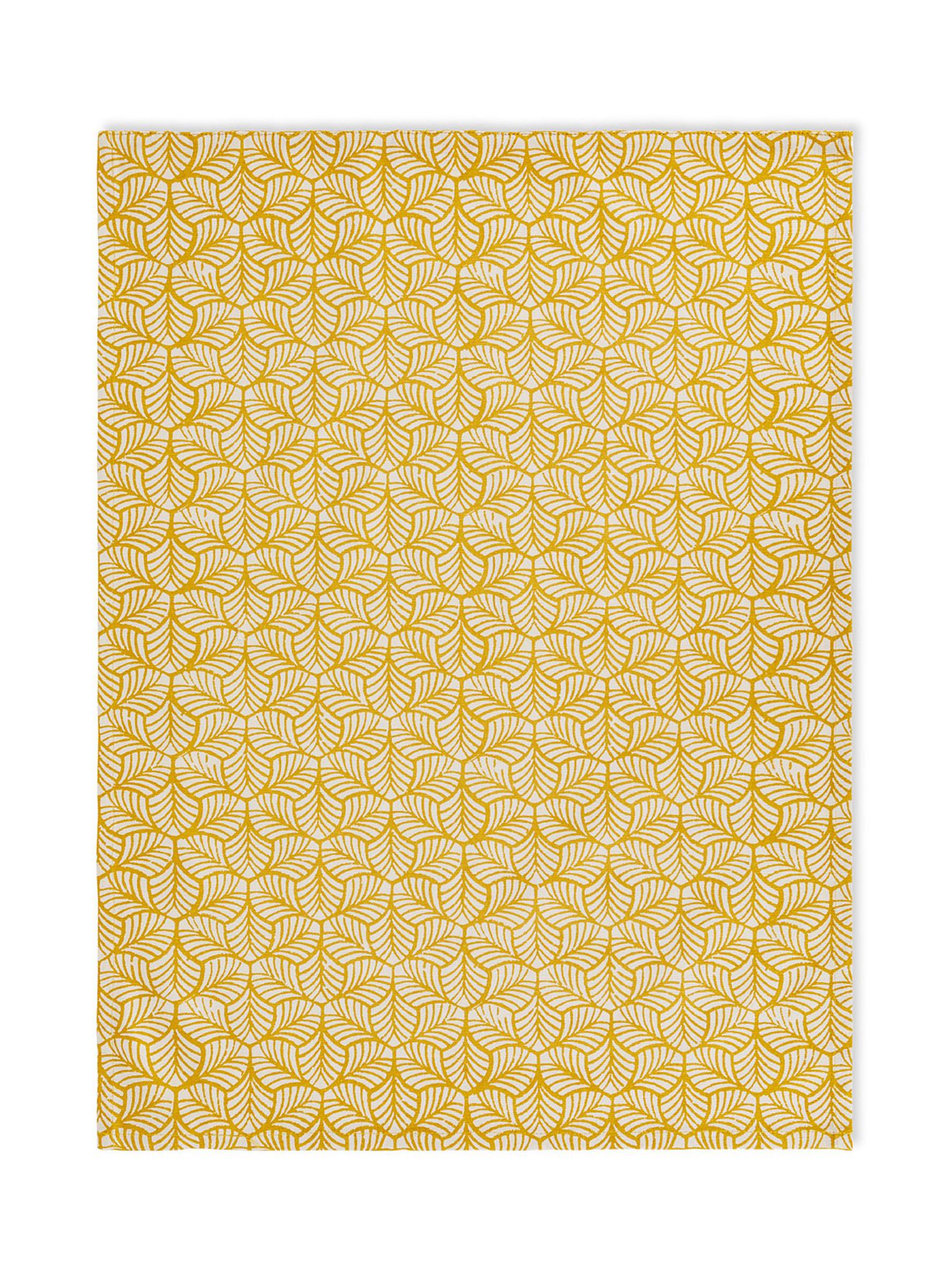 Set 2 strofinacci puro cotone stampa foglie, Giallo, large image number 2