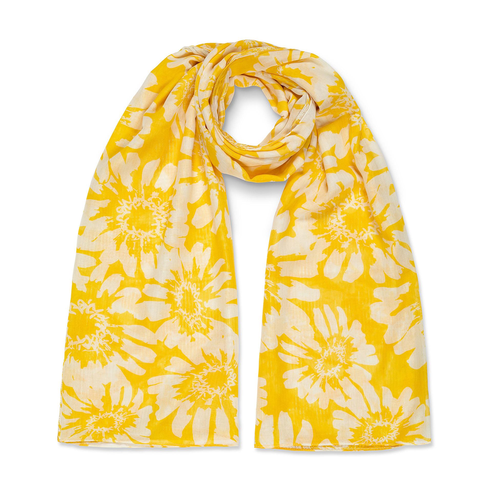 Sciarpa stampa fiori e lurex Koan, Giallo, large image number 0