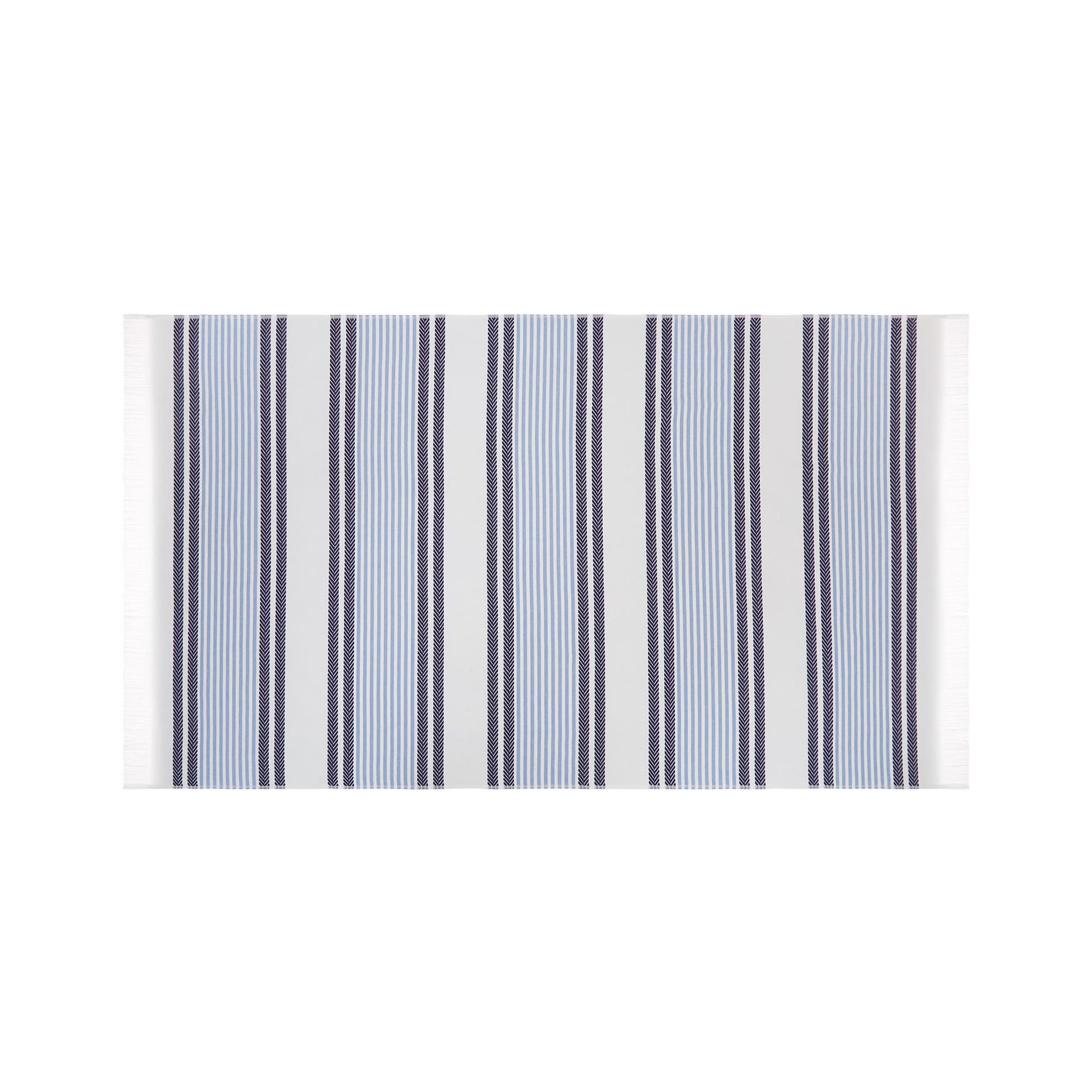 Telo mare hammam cotone jacquard tinto filo a righe, Azzurro, large image number 0