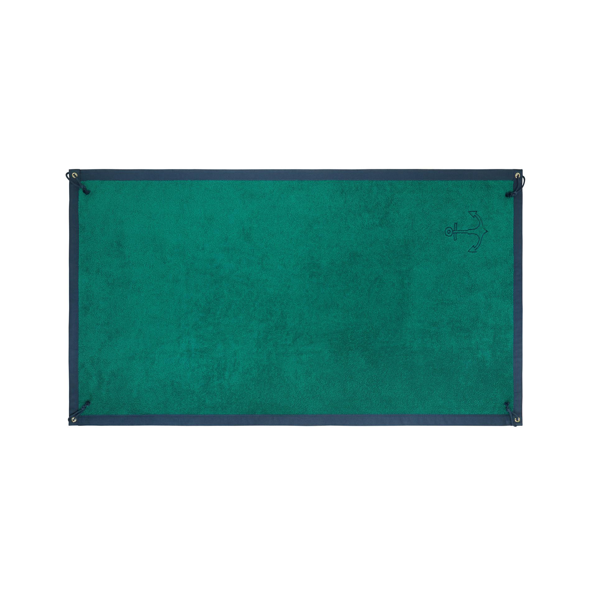 Telo mare spugna di cotone ricamo ancora, Verde scuro, large image number 0