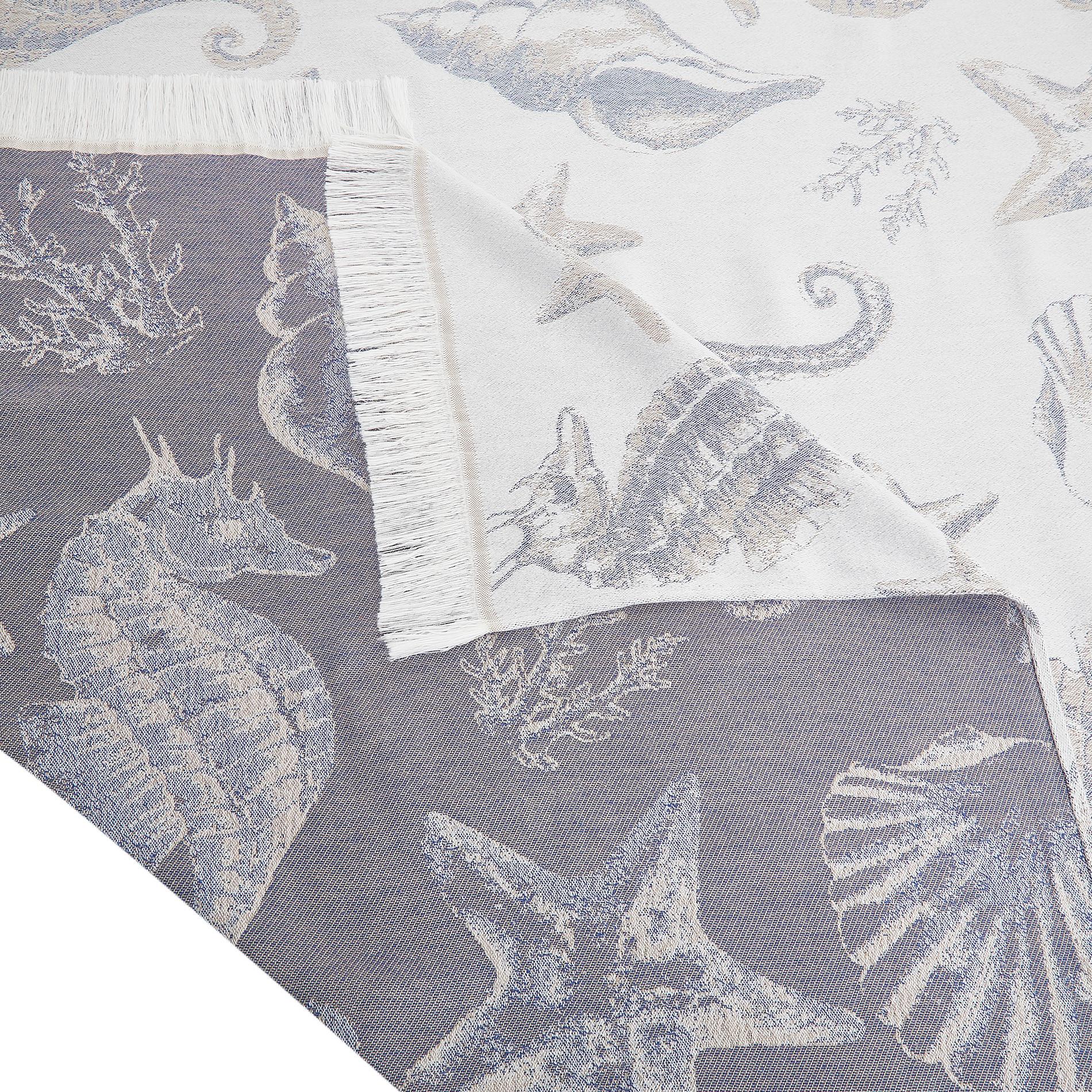Telo mare cotone leggero motivo conchiglie, Bianco, large image number 1