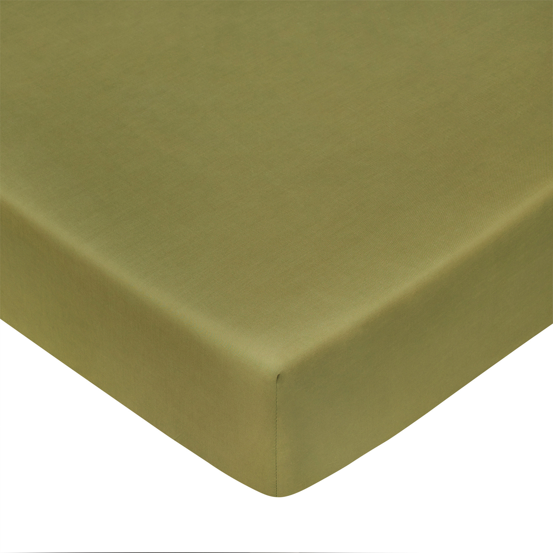 Lenzuolo con angoli in percalle tinta unita Zefiro, Verde oliva, large image number 0