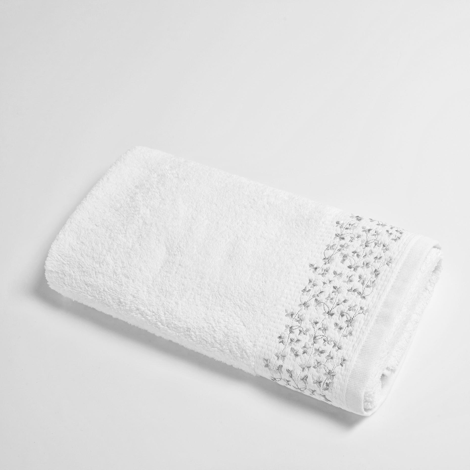 Asciugamano con balza ricamata Portofino, Bianco, large image number 1