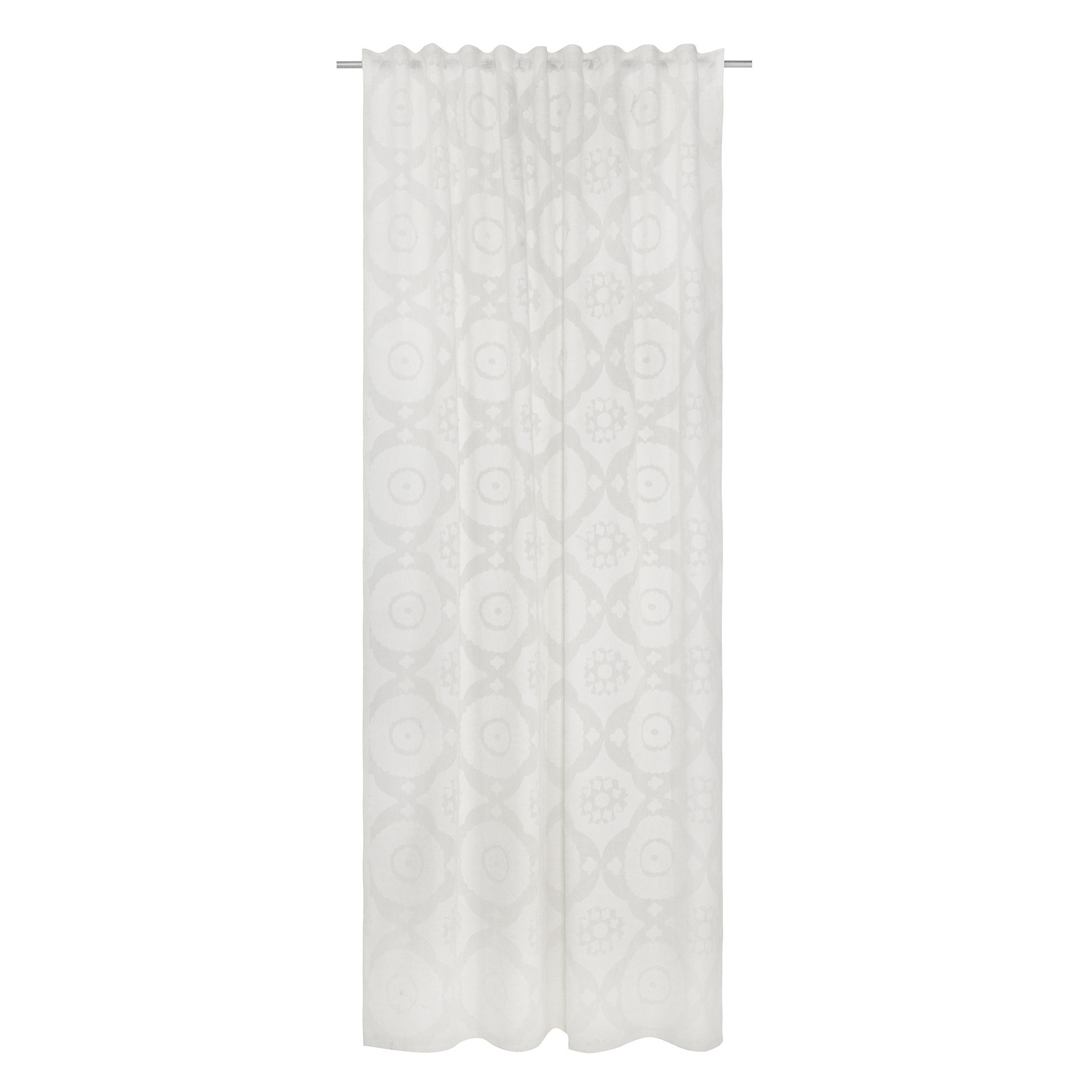 Tenda devore motivo geometrico passanti nascosti, Bianco, large image number 2