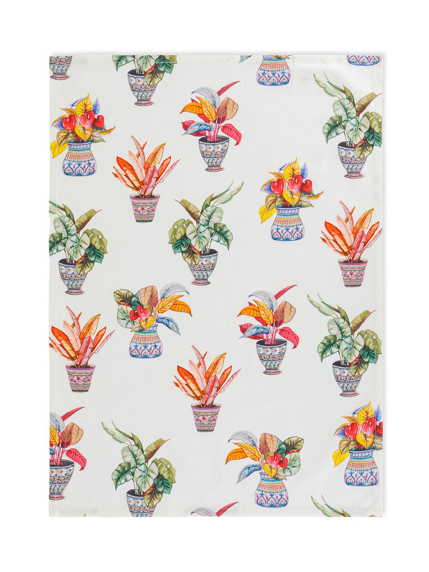 Set 3 strofinacci puro cotone stampa vasi, Multicolor, large image number 2