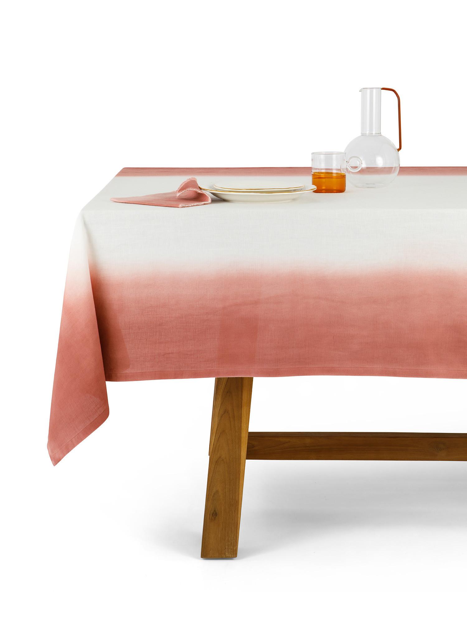Tovaglia cotone e lino sfumatura dip dye, Rosa, large image number 0