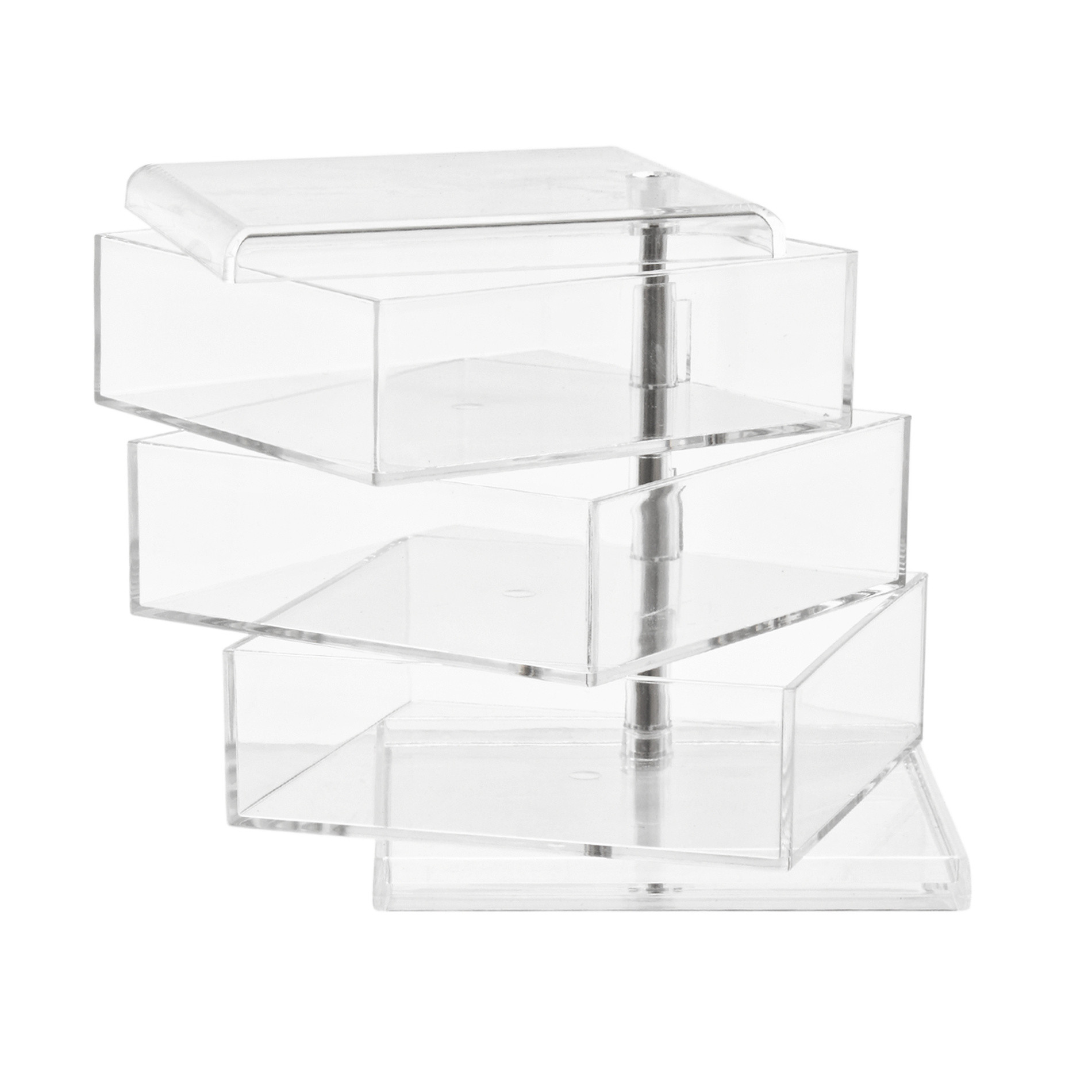 Storage 3 ripiani in plastica, Trasparente, large image number 1
