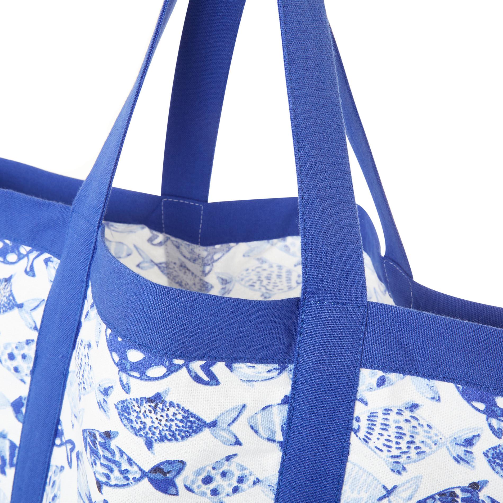 Borsa puro cotone stampa pesci, Azzurro, large image number 1