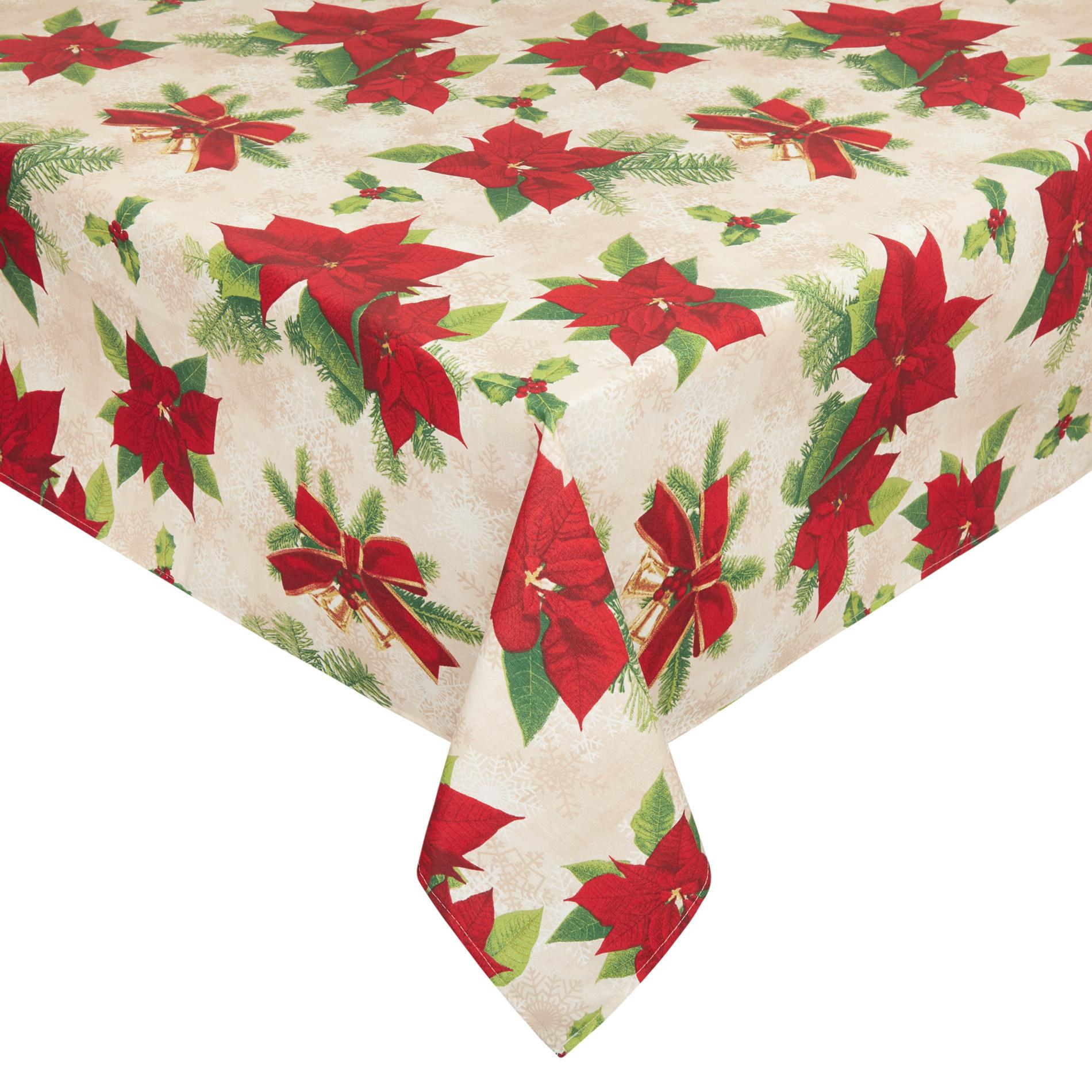 Tovaglia tessuto idrorepellente stampa natalizia, Bianco/Rosso, large image number 0