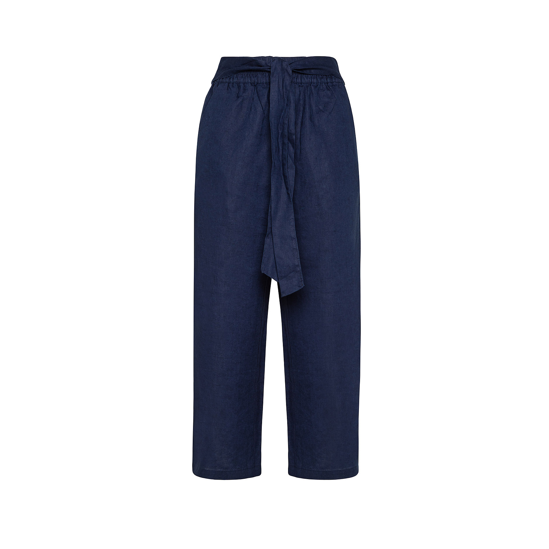 Pantalone puro lino con fusciacca Koan, Blu scuro, large image number 1