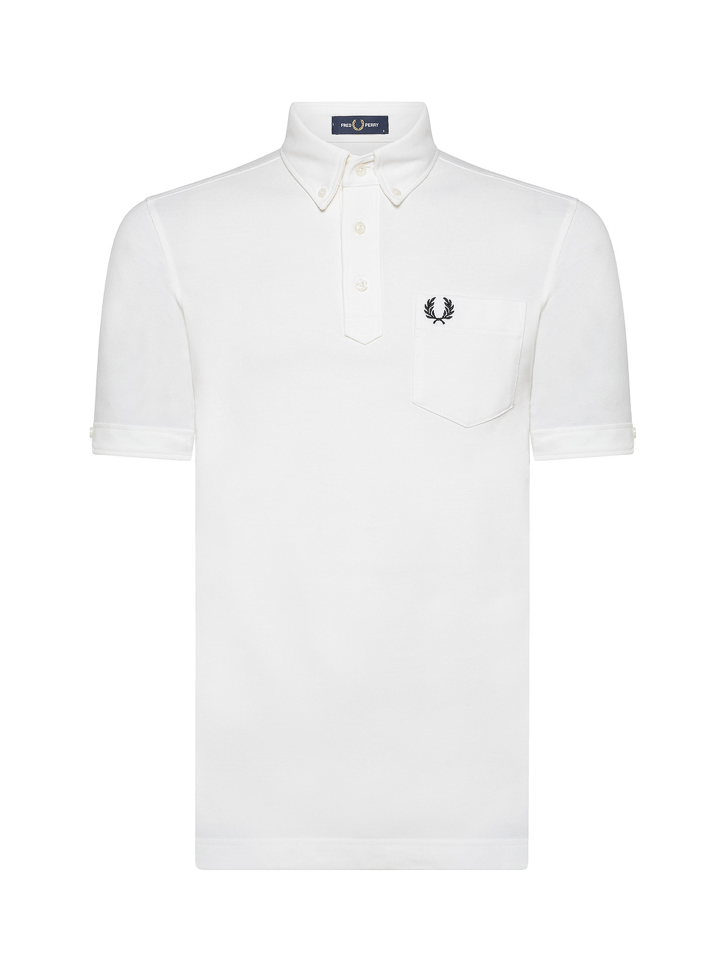 Polo con collo button down, Bianco, large image number 0