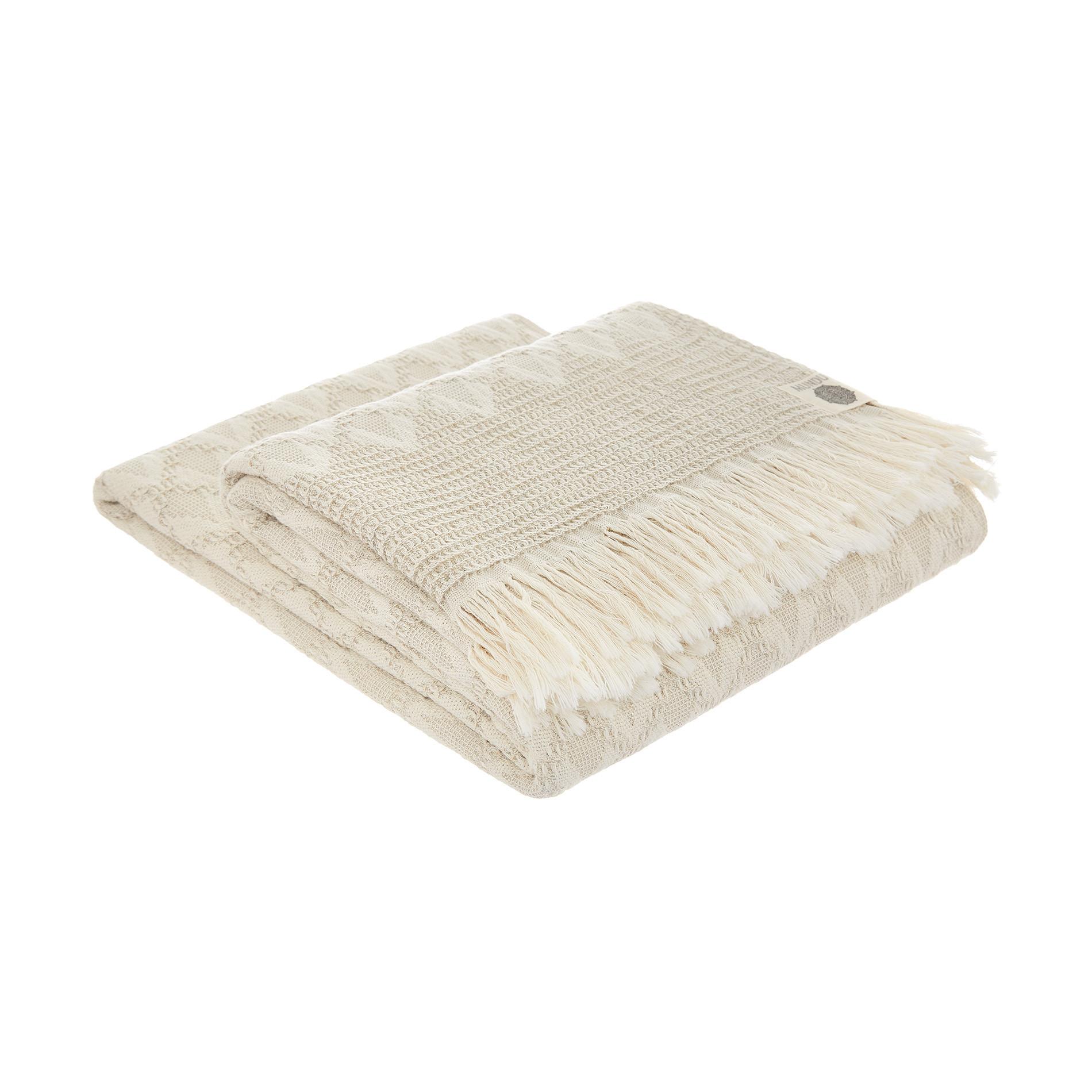 Plaid misto lino e cotone a rombi, Beige chiaro, large image number 0