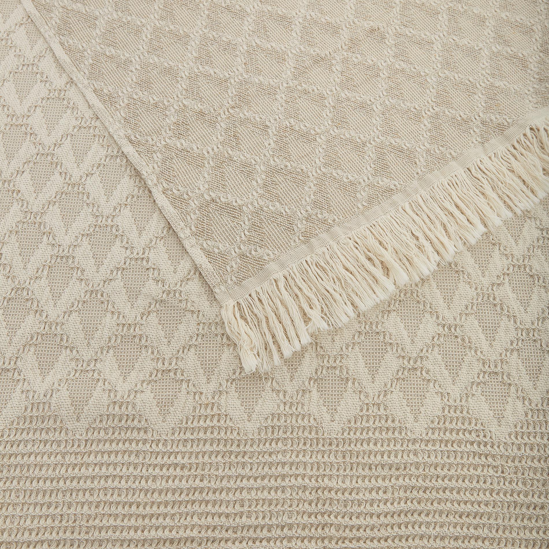 Plaid misto lino e cotone a rombi, Beige chiaro, large image number 1