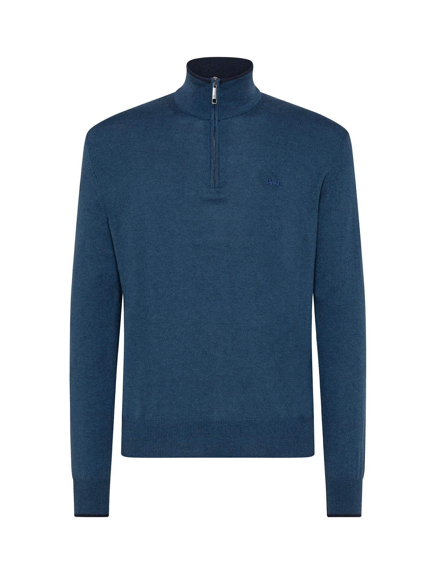 Maglia uomo a maniche lunghe in cotone misto lana, Blu, large image number 0