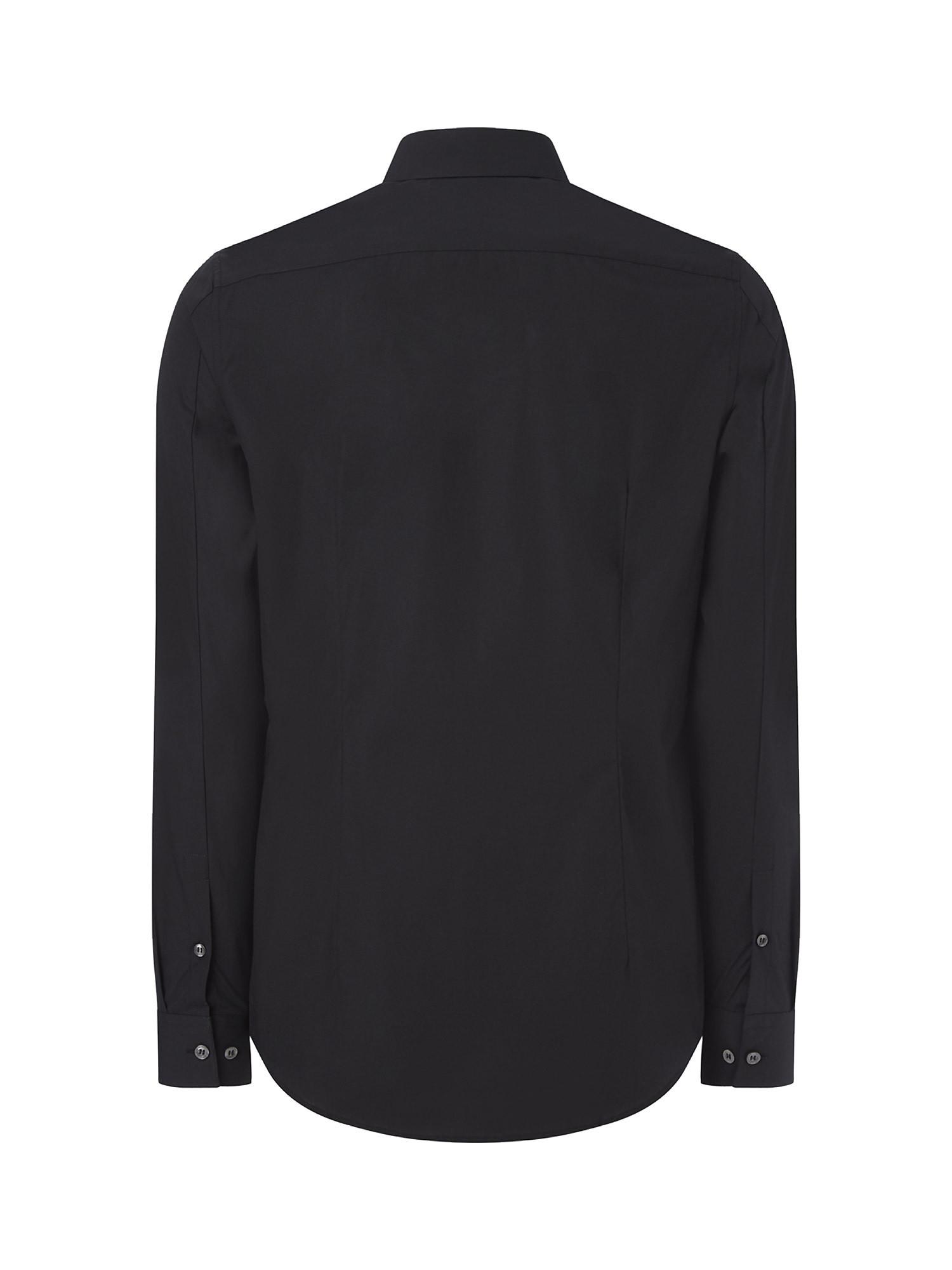 Camicia in cotone elasticizzato, Nero, large image number 3