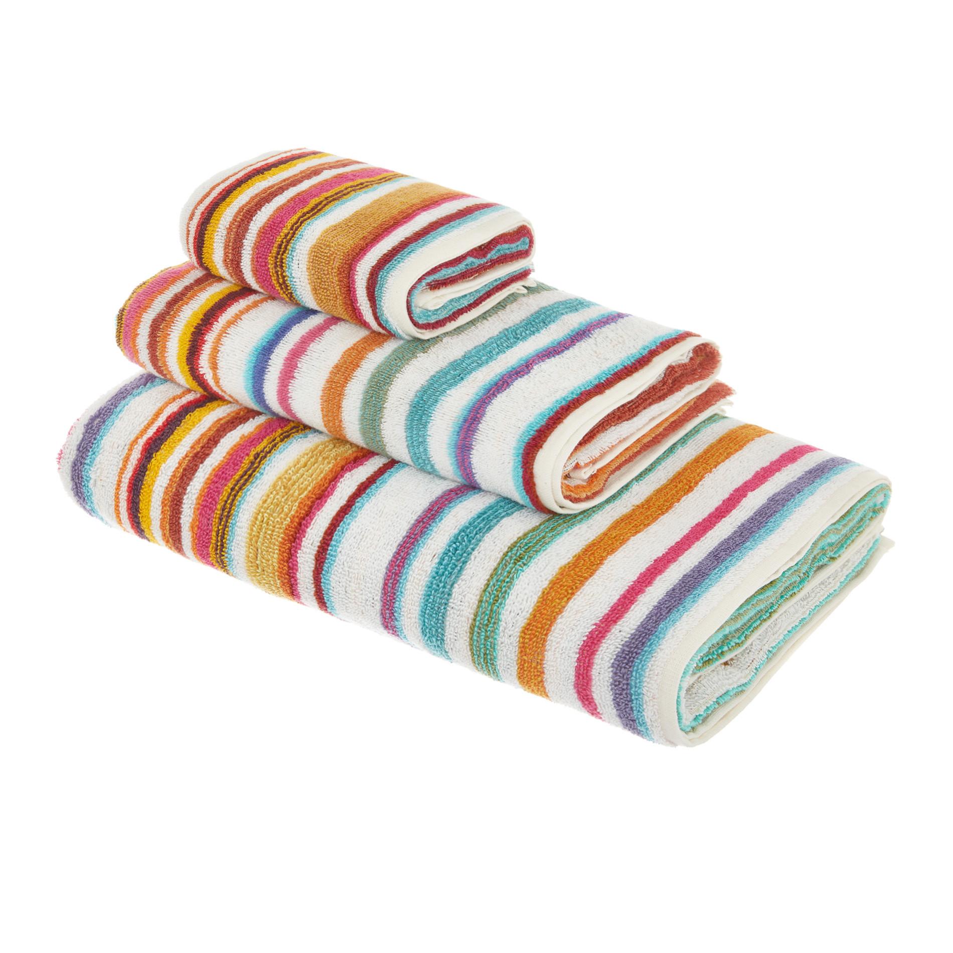 Asciugamano cotone tinto filo a righe, Arancione, large image number 1