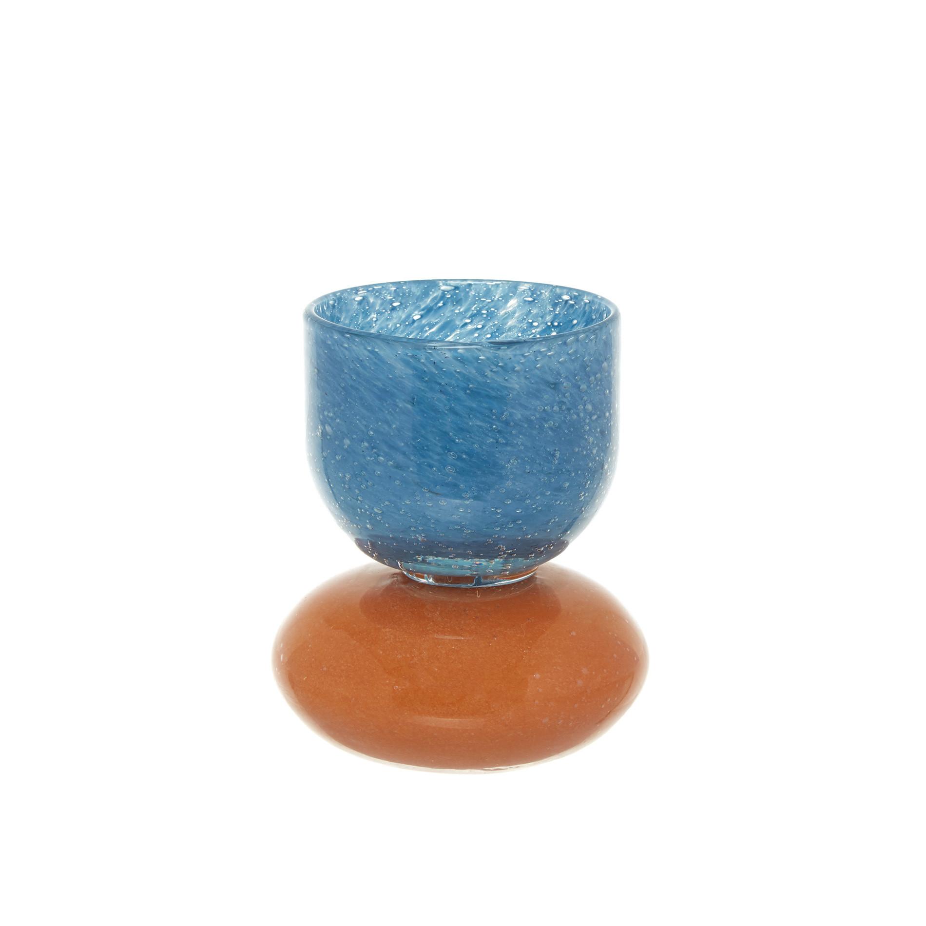 Portacandele vetro colorato in pasta bicolor, Azzurro, large image number 0