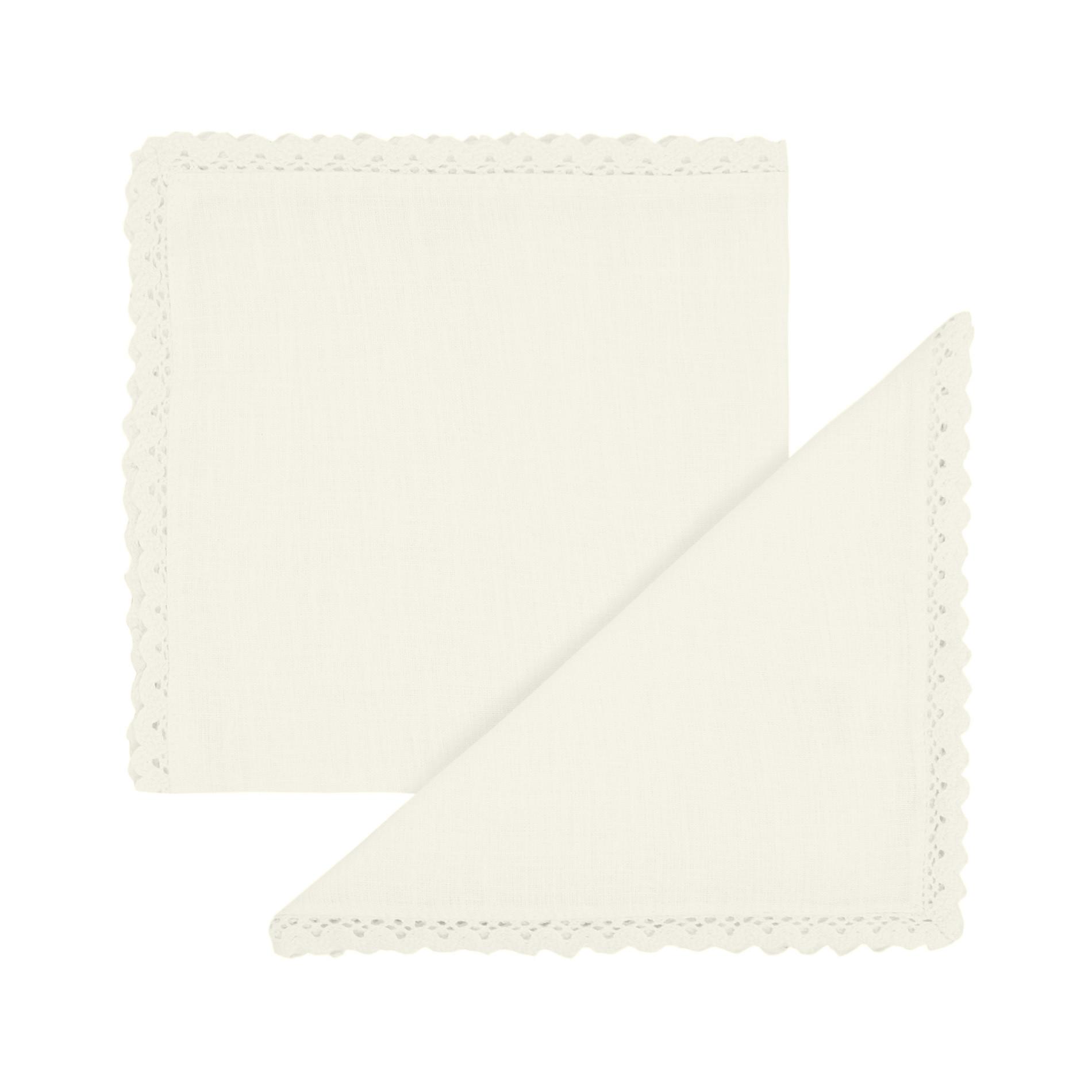 Set 2 tovaglioli puro lino bordo in pizzo, Bianco, large image number 0