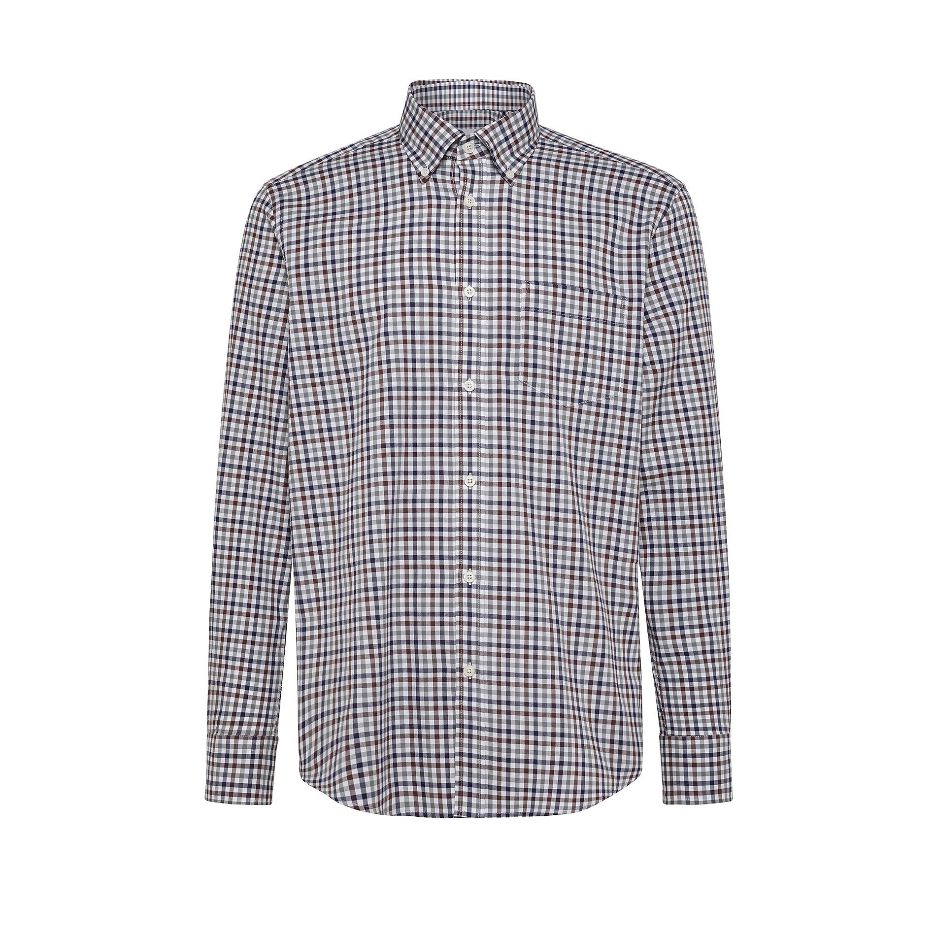 Camicia button-down regular fit in cotone organico, Grigio, large image number 0