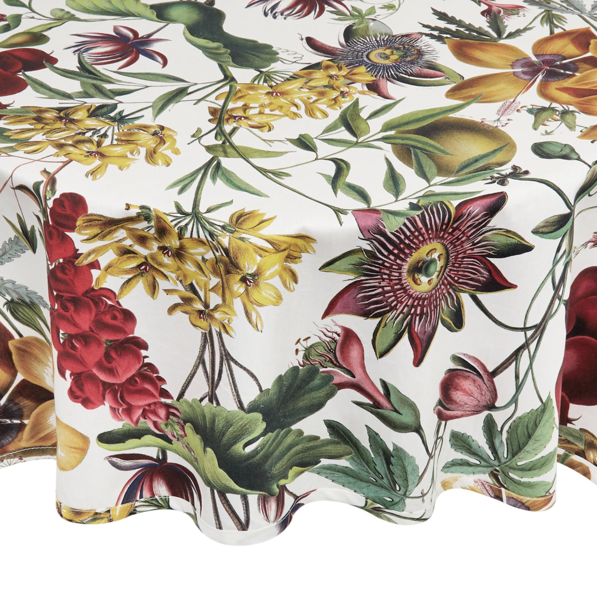 Tovaglia rotonda twill di cotone stampa floreale, Bianco, large image number 0