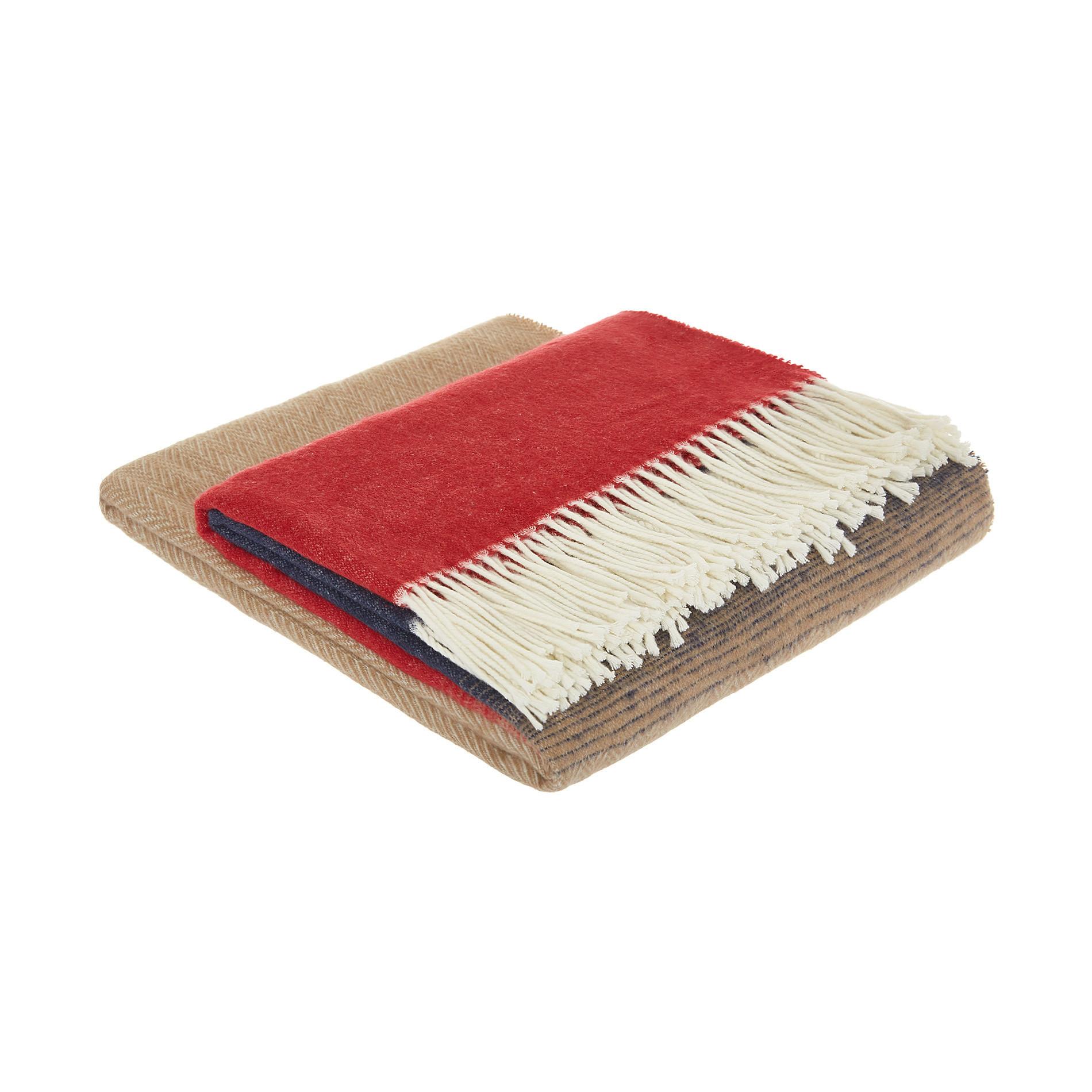Plaid misto cotone con frange, Rosso, large image number 0