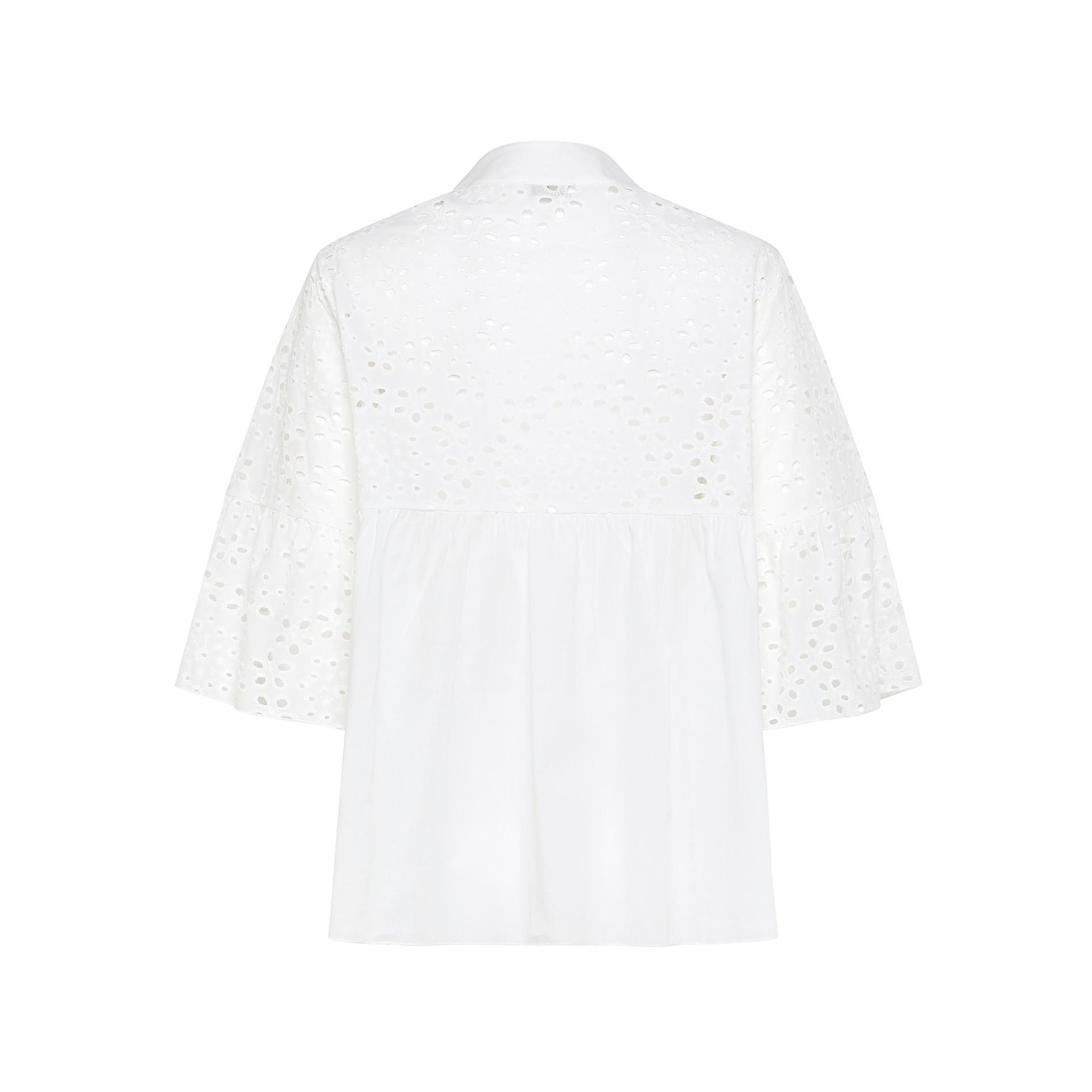 Camicia in sangallo di cotone tinta unita, Bianco, large image number 1