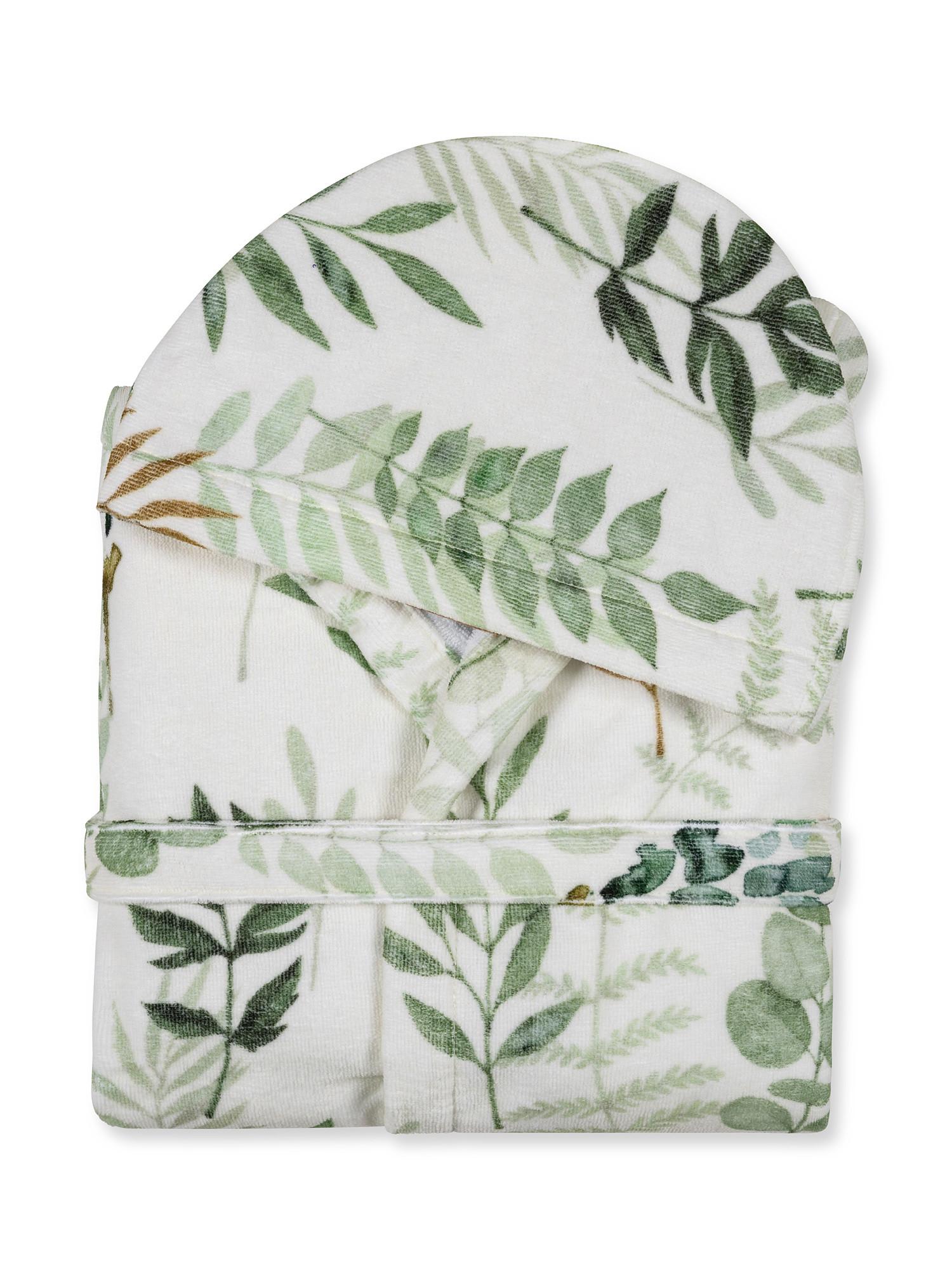 Accappatoio cotone velour motivo botanico, Bianco, large image number 1